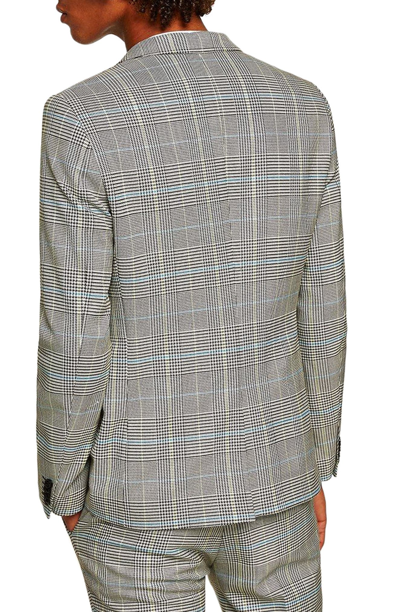 Skinny Fit Houndstooth Suit Jacket,                             Alternate thumbnail 2, color,                             GREY MULTI