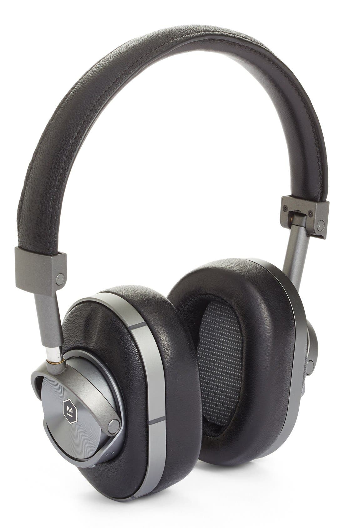 MW60 Wireless Leather Over Ear Headphones,                         Main,                         color, BLACK/ GUNMETAL