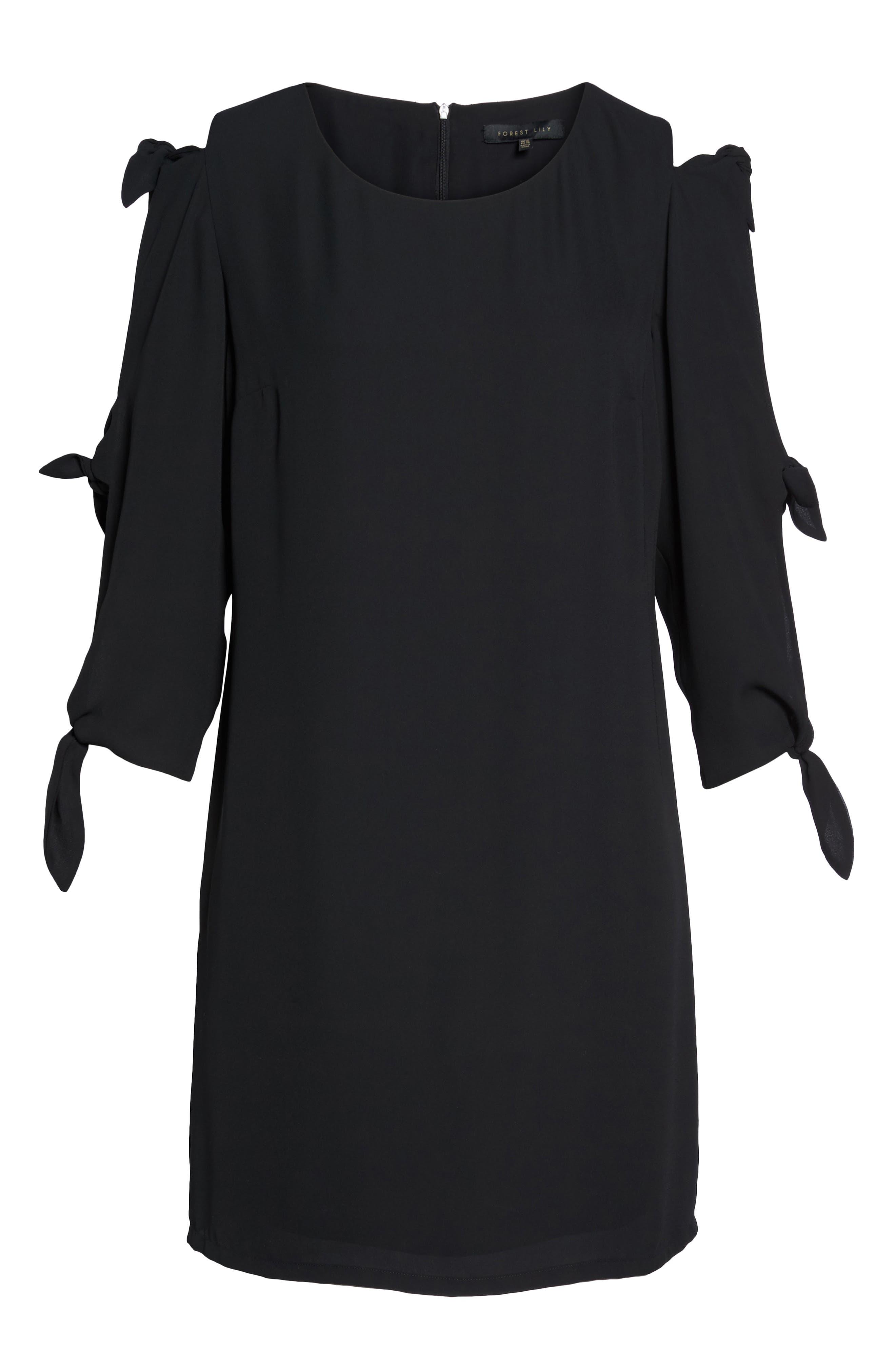 Bow Sleeve Shift Dress,                             Alternate thumbnail 6, color,                             BLACK