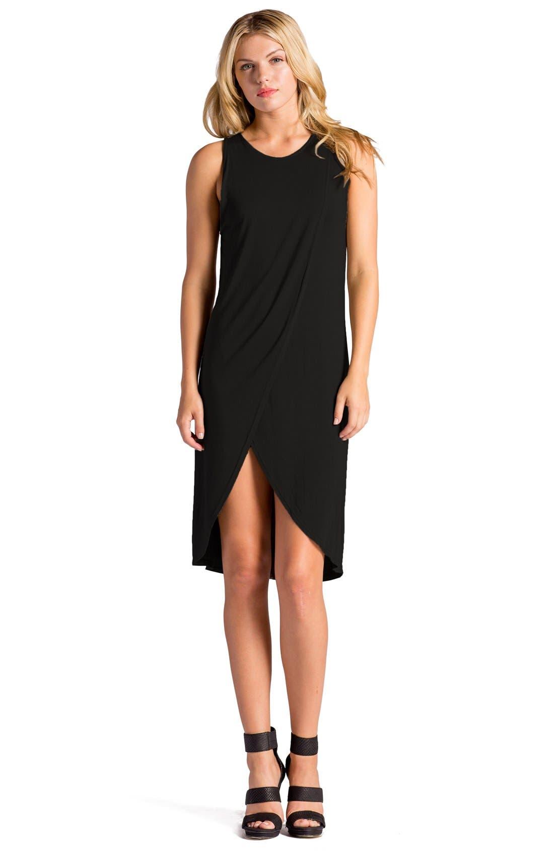Elba Asymmetrical Hem Sleeveless Jersey Dress,                             Alternate thumbnail 7, color,