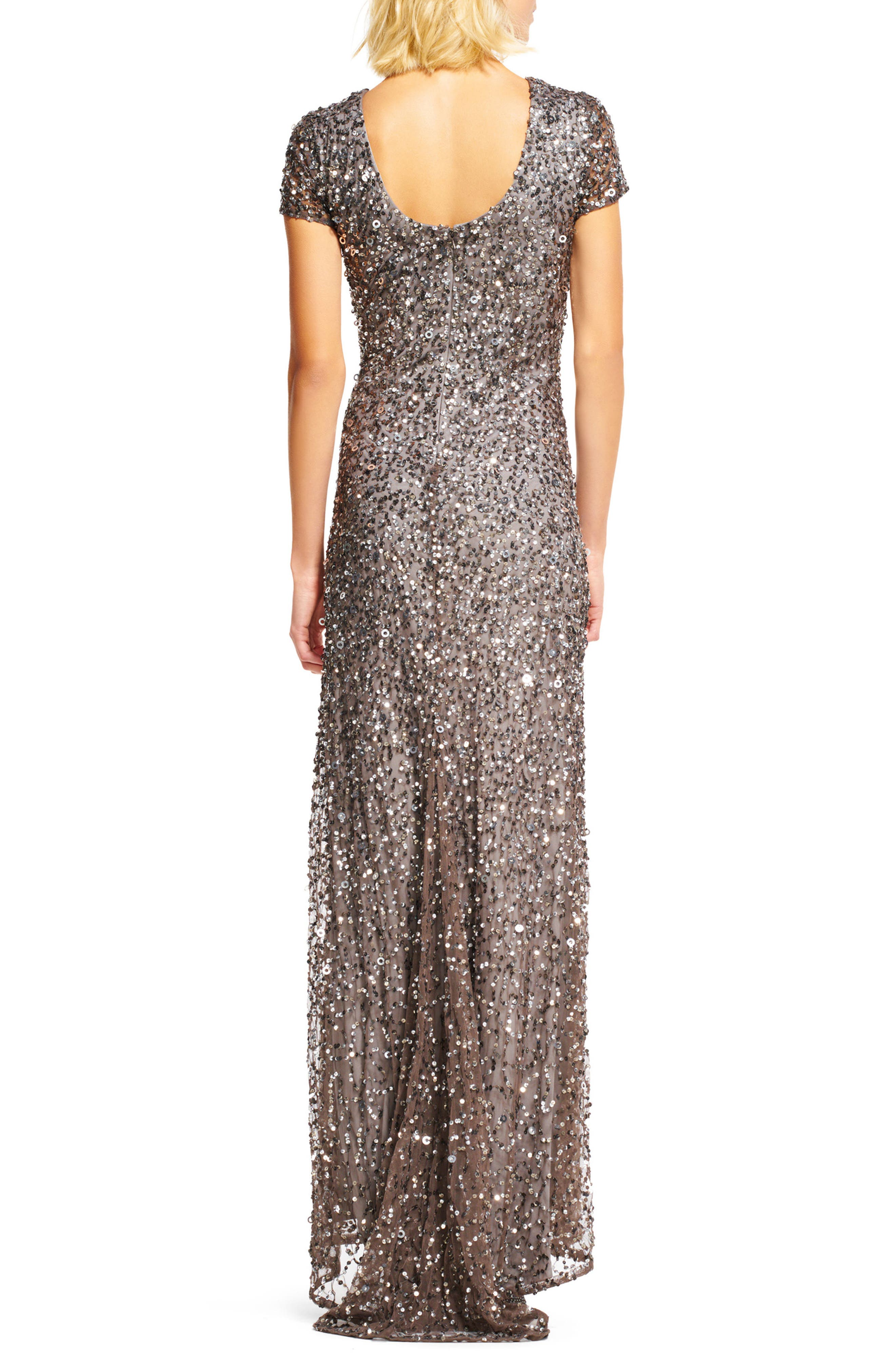 Short Sleeve Sequin Mesh Gown,                             Alternate thumbnail 3, color,                             LEAD
