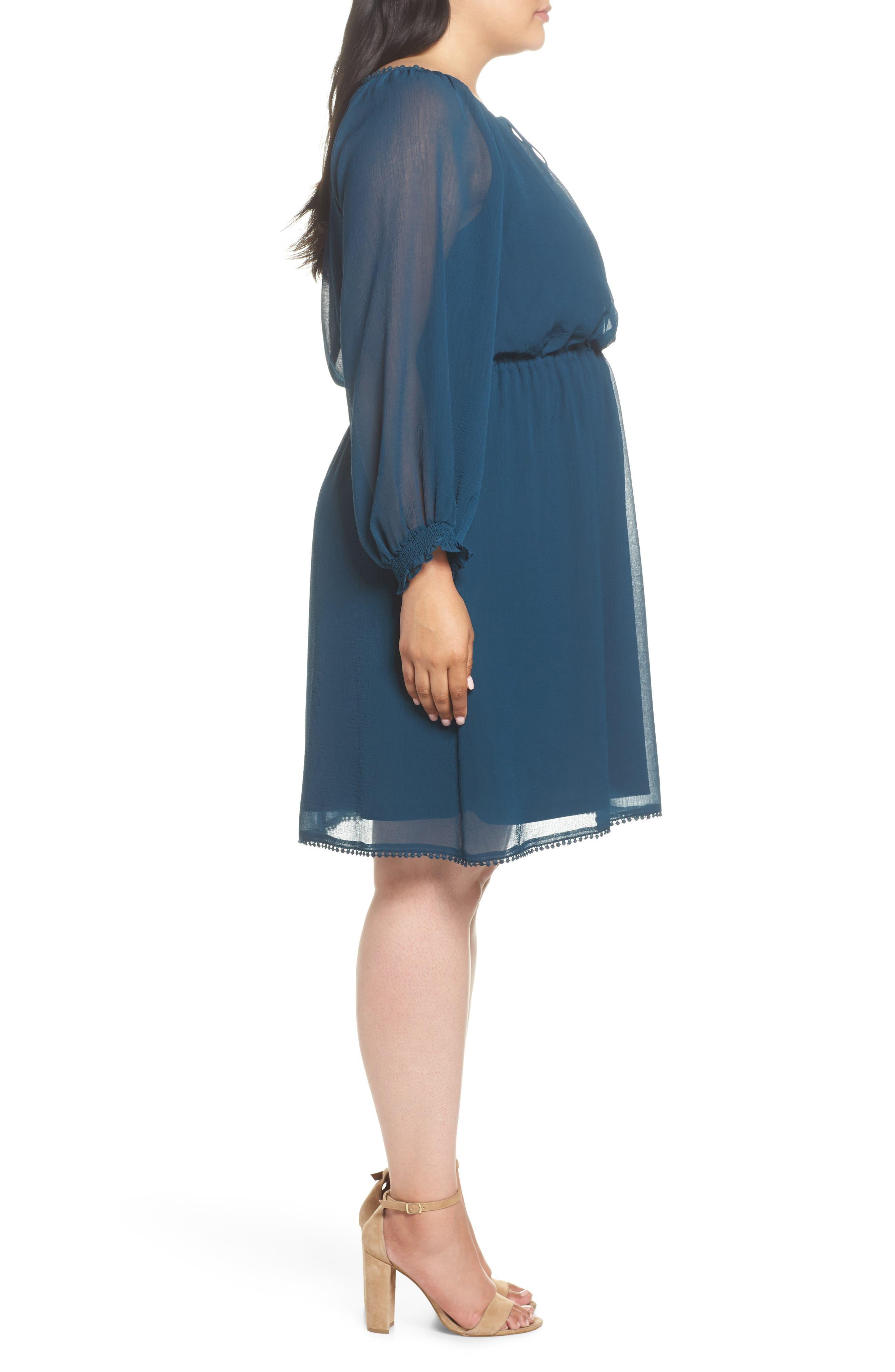 Bishop Sleeve Blouson Dress,                             Alternate thumbnail 3, color,                             471