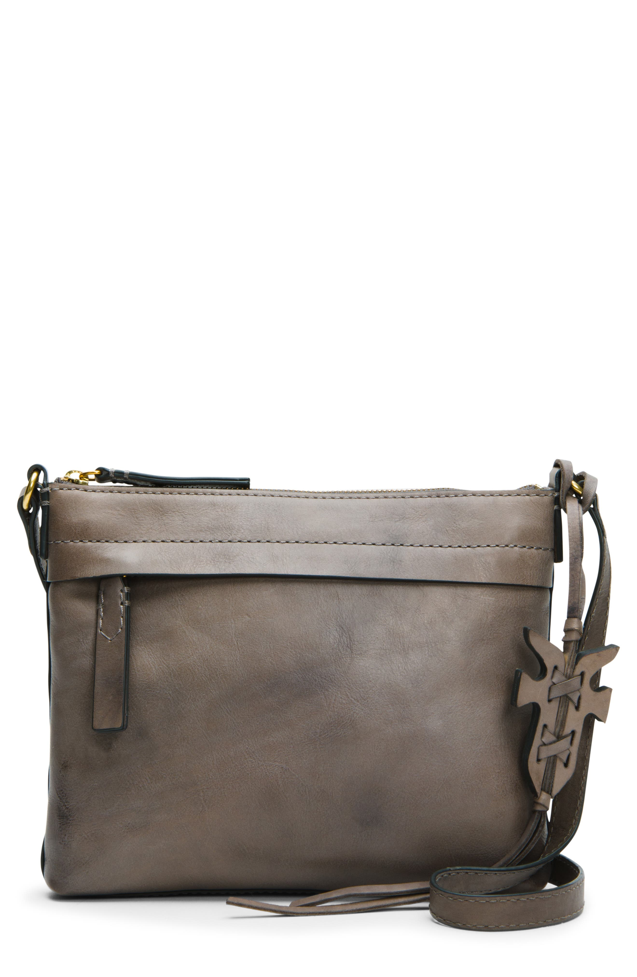 Carson Leather Crossbody Bag,                             Main thumbnail 1, color,                             GREY