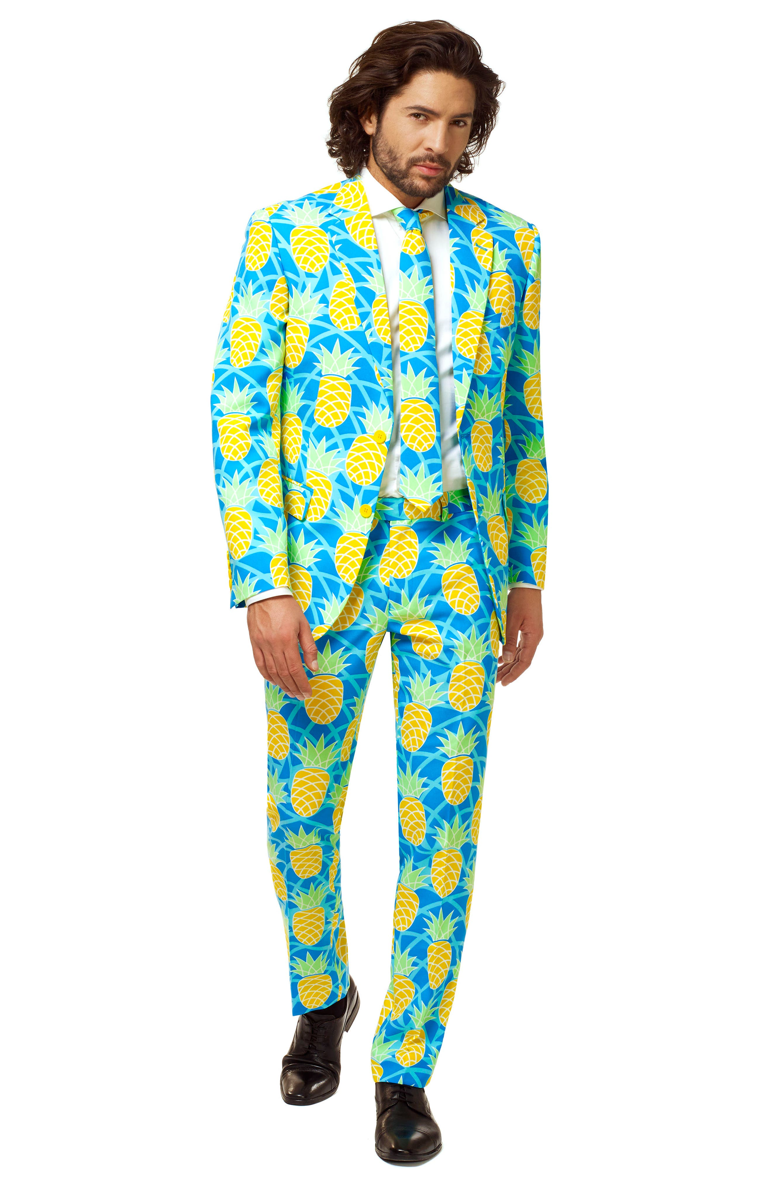 Summer Shineapple Trim Fit Two-Piece Suit with Tie,                             Alternate thumbnail 4, color,                             400
