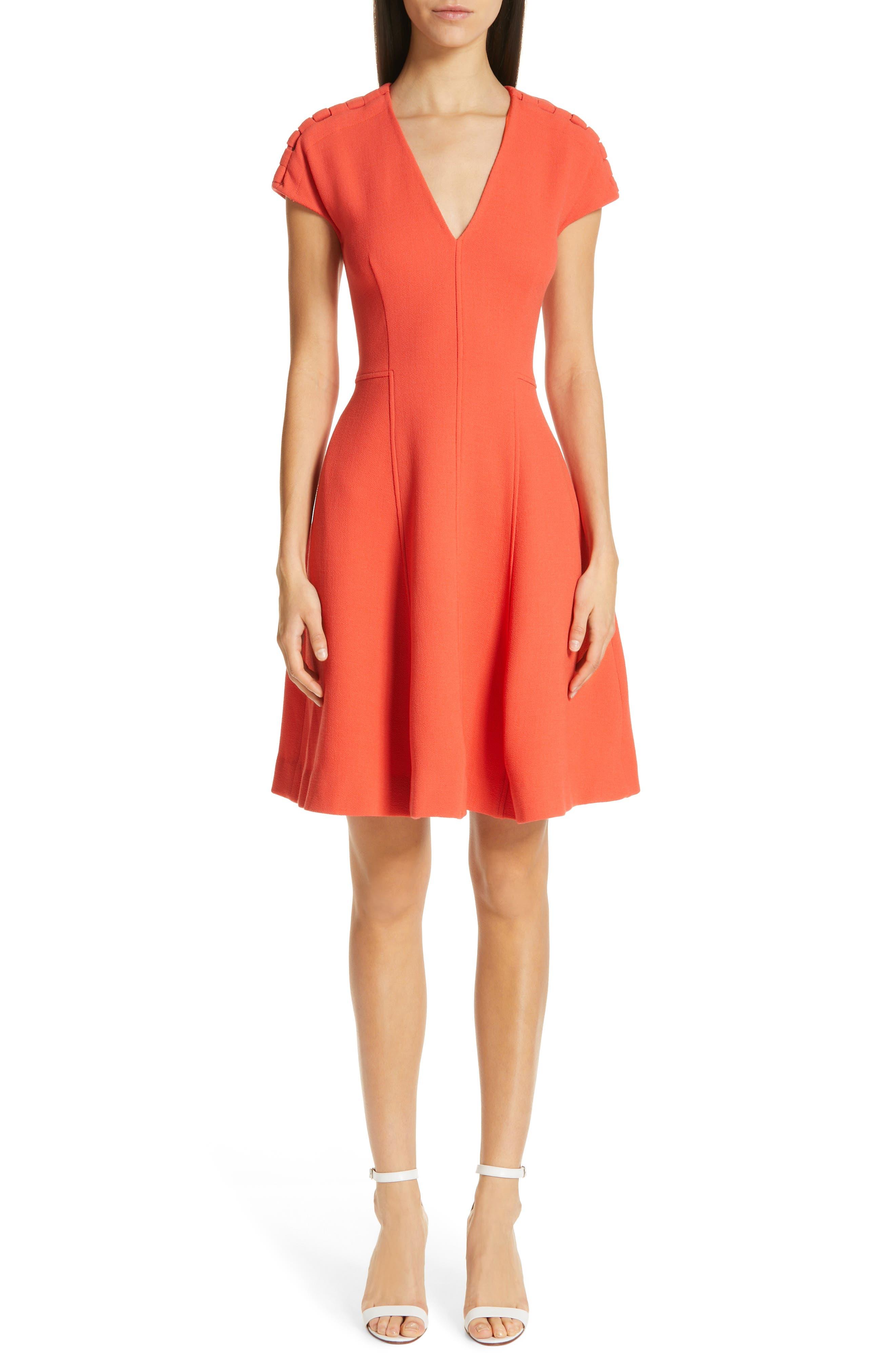 Lela Rose Seamed Wool Blend Crepe Dress, Coral