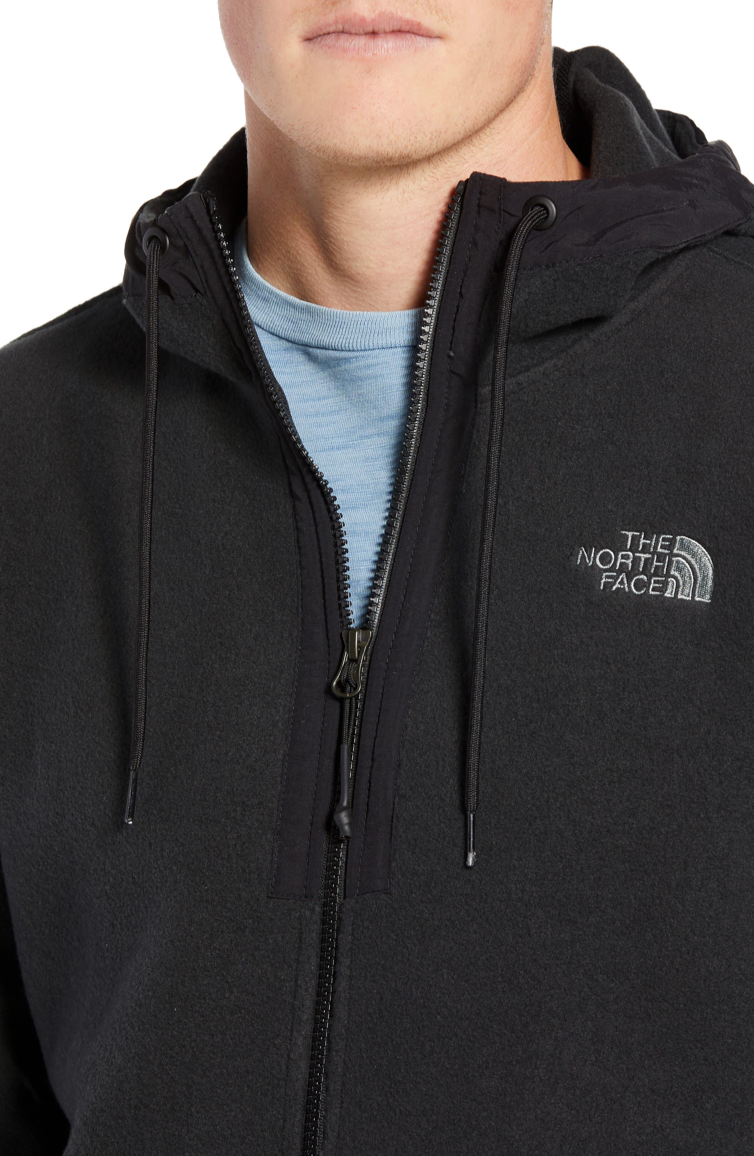 Pyrite Sweater Knit Fleece Hoodie,                             Alternate thumbnail 4, color,                             TNF BLACK