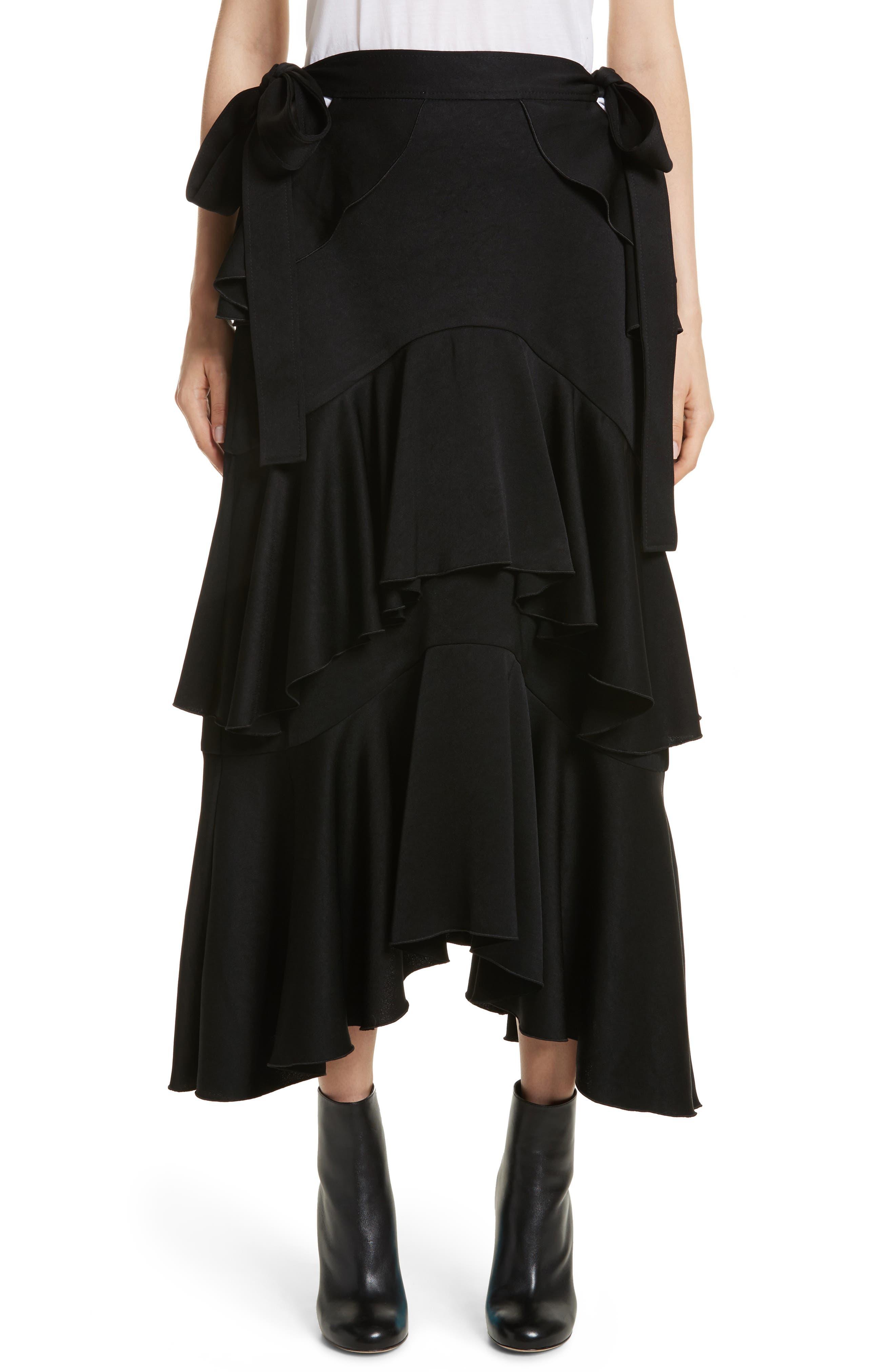 Saloon Ruffle Skirt,                             Main thumbnail 1, color,                             001