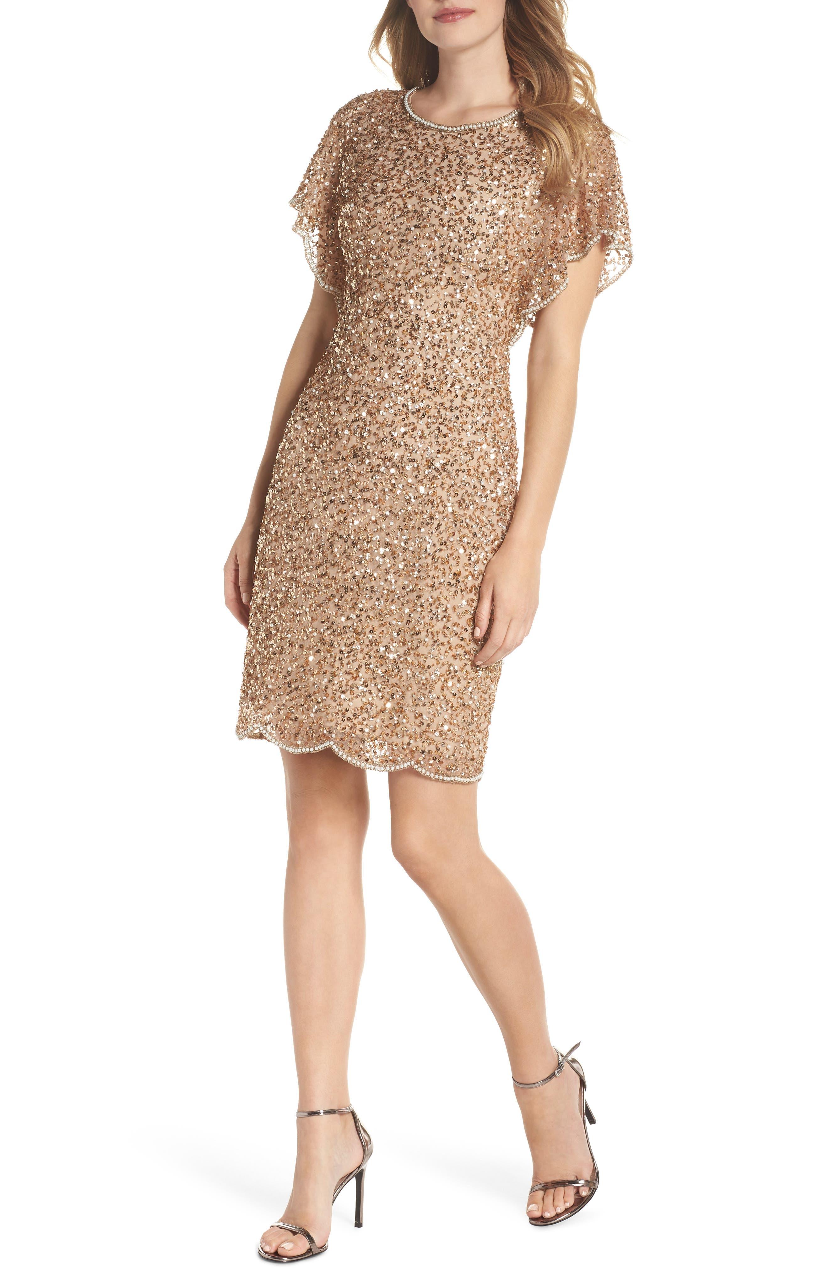 Adrianna Papell Embellished Flutter Sleeve Cocktail Dress, Regular - Metallic
