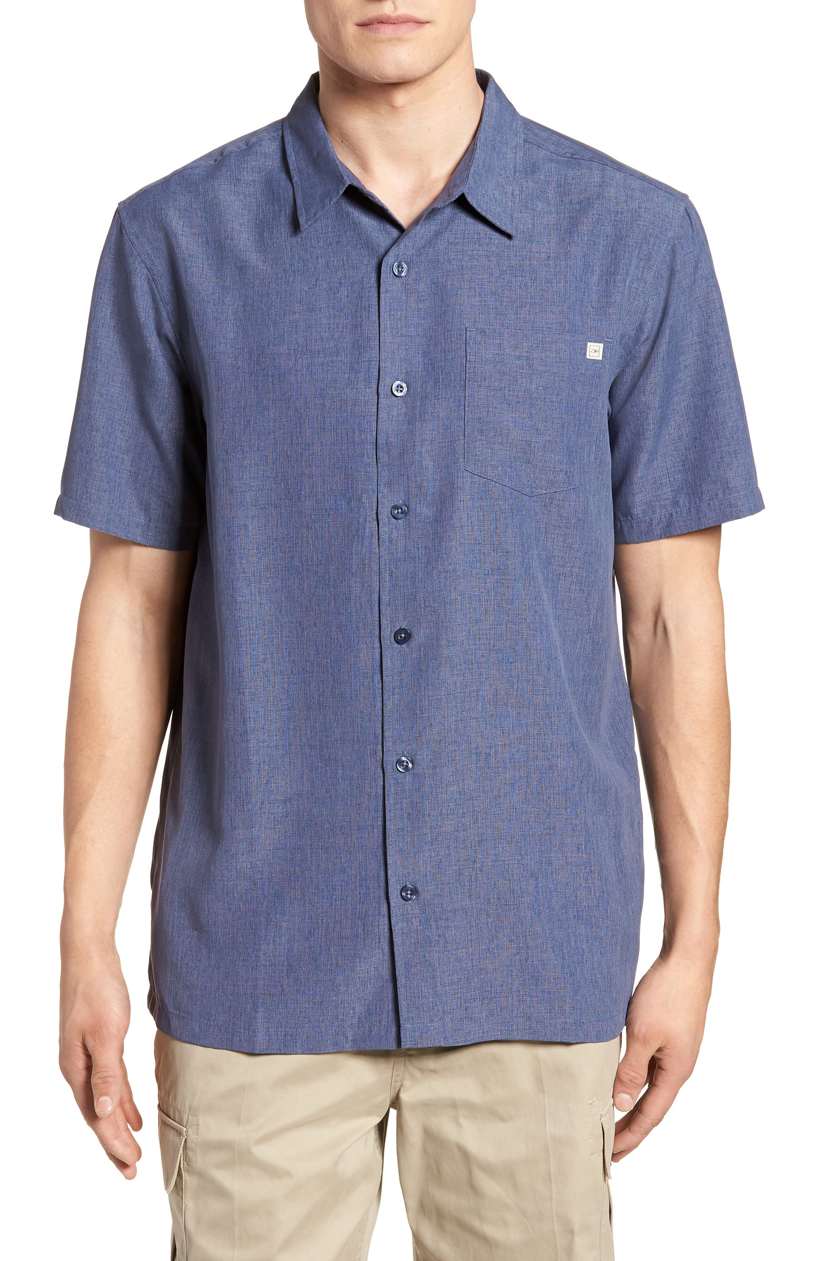 Liberty Regular Fit Short Sleeve Sport Shirt,                         Main,                         color, NAVY