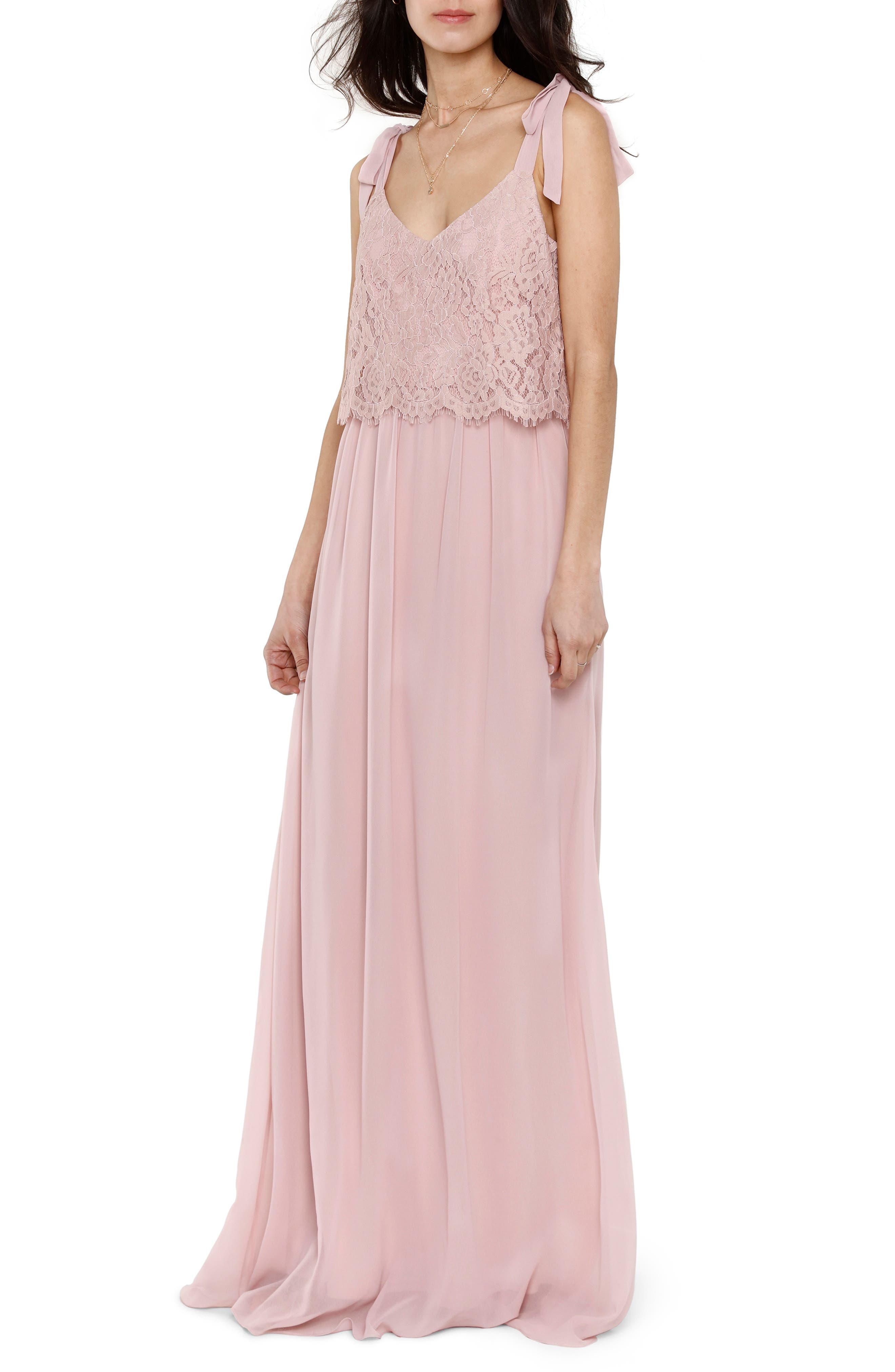 Koko Tie Shoulder Lace Bodice Gown,                             Main thumbnail 1, color,                             MAUVE