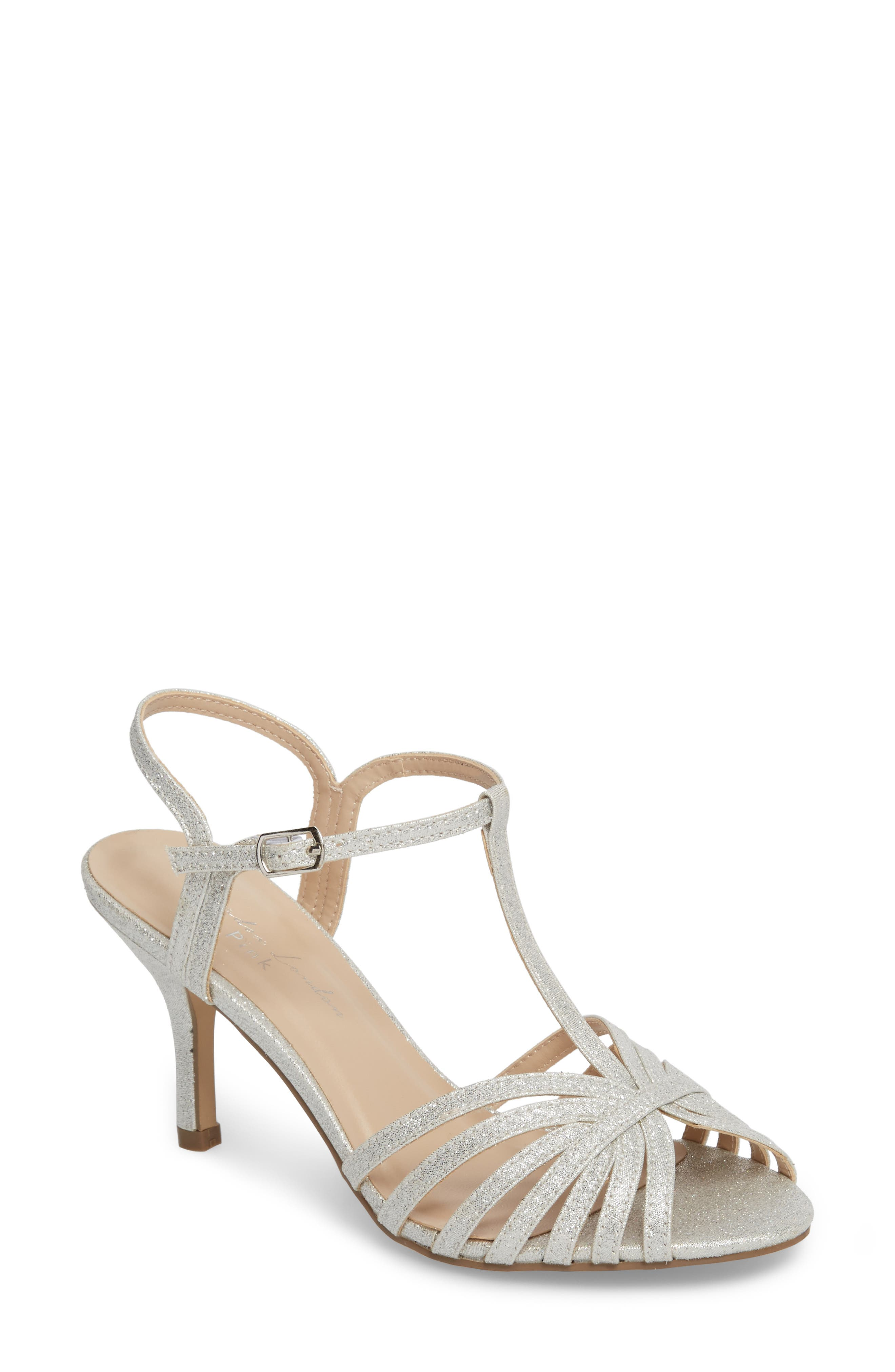 Maggie T-Strap Sandal,                             Main thumbnail 1, color,                             SILVER GLITTER