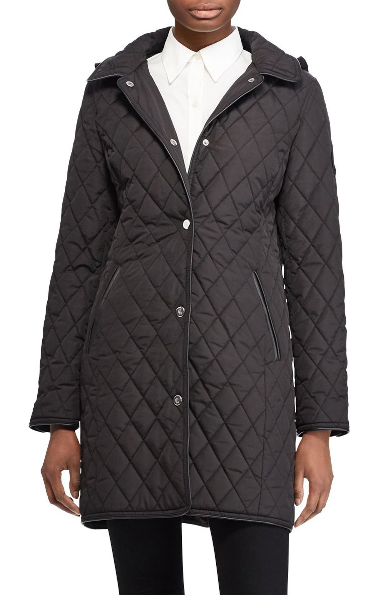 LAUREN RALPH LAUREN Quilted Hooded Jacket, Main, color, 001