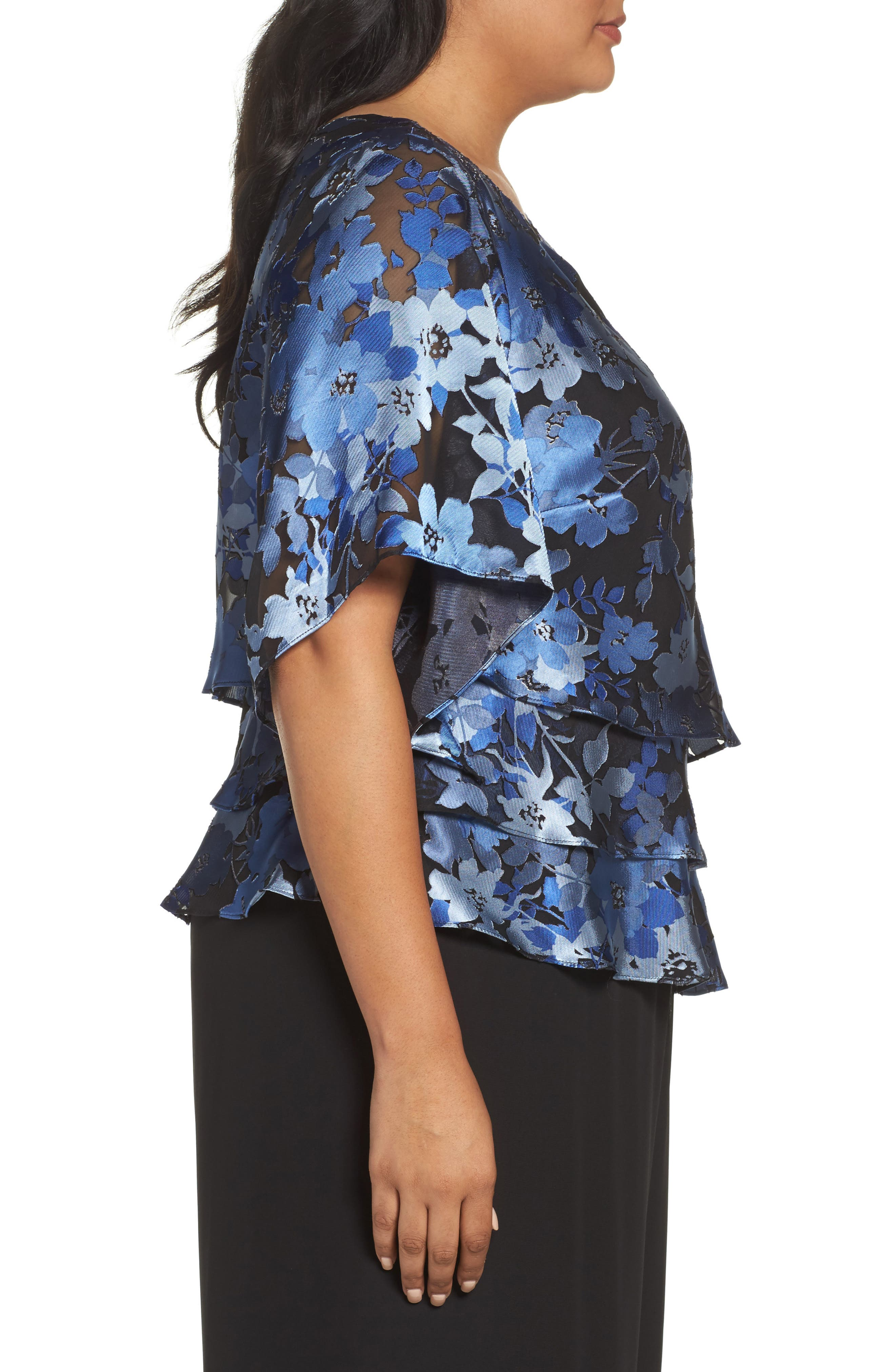 Burnout Floral Blouse,                             Alternate thumbnail 3, color,