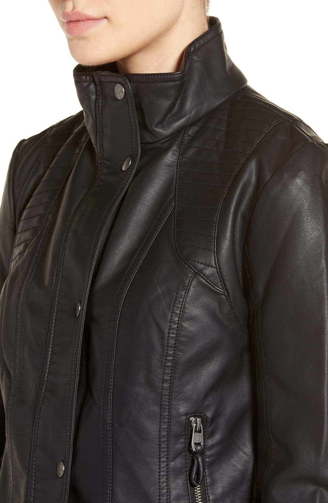 Quilted Faux Leather Jacket,                             Alternate thumbnail 4, color,                             001