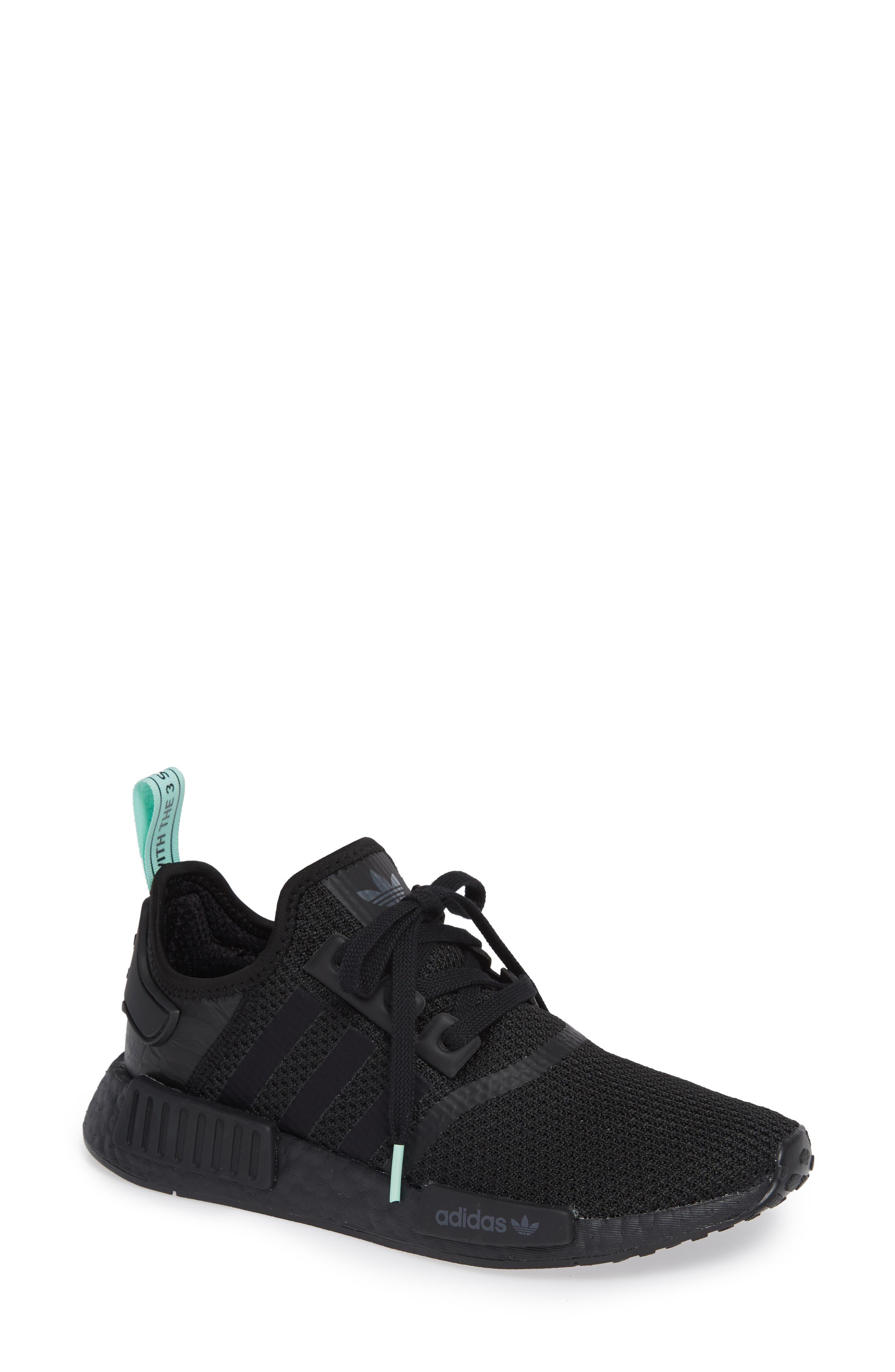 NMD R1 Athletic Shoe,                             Main thumbnail 1, color,                             BLACK/ BLACK/ CLEAR MINT