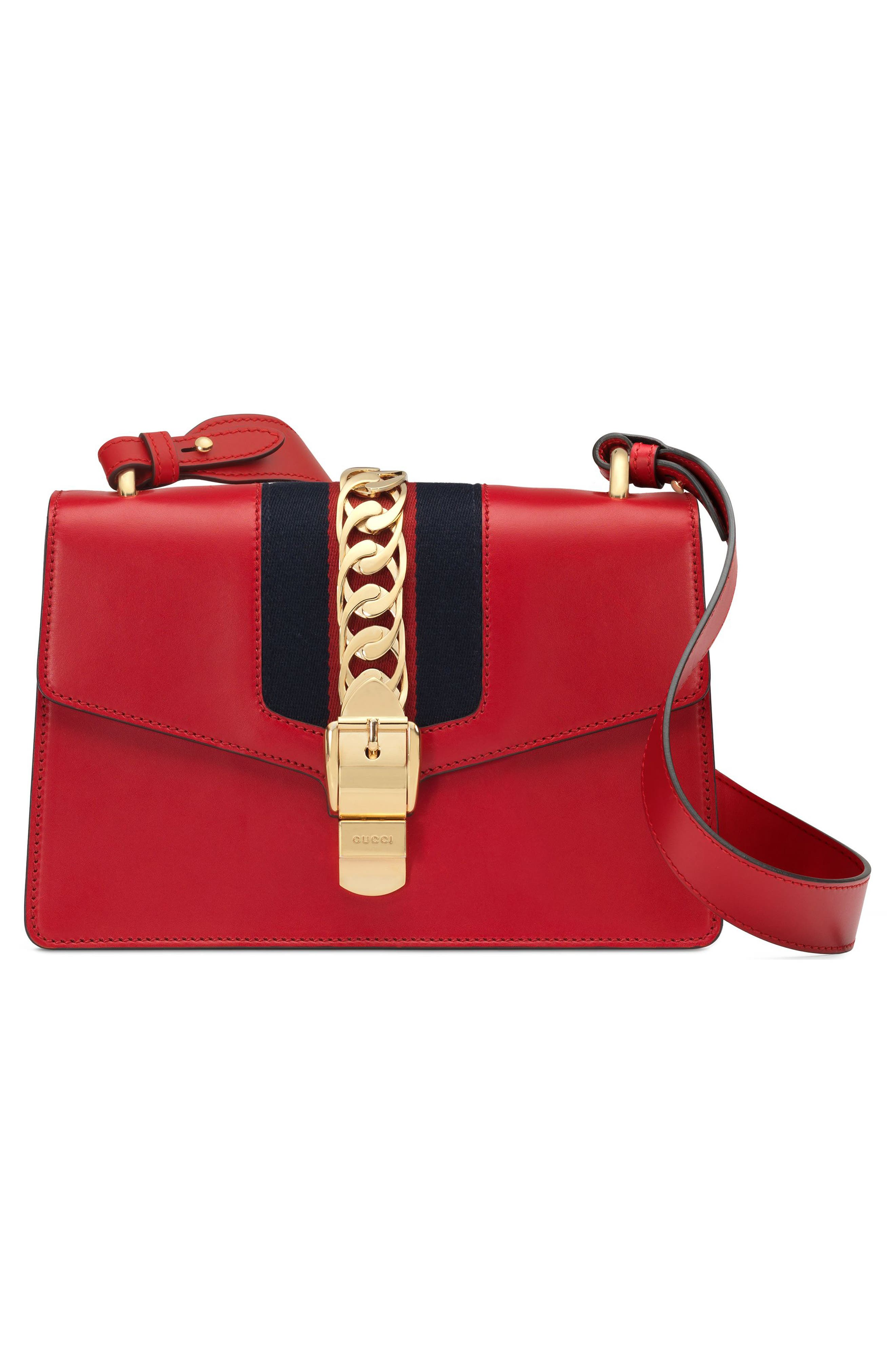 Small Sylvie Leather Shoulder Bag,                             Alternate thumbnail 5, color,                             HIBISCUS RED/ BLUE/ RED