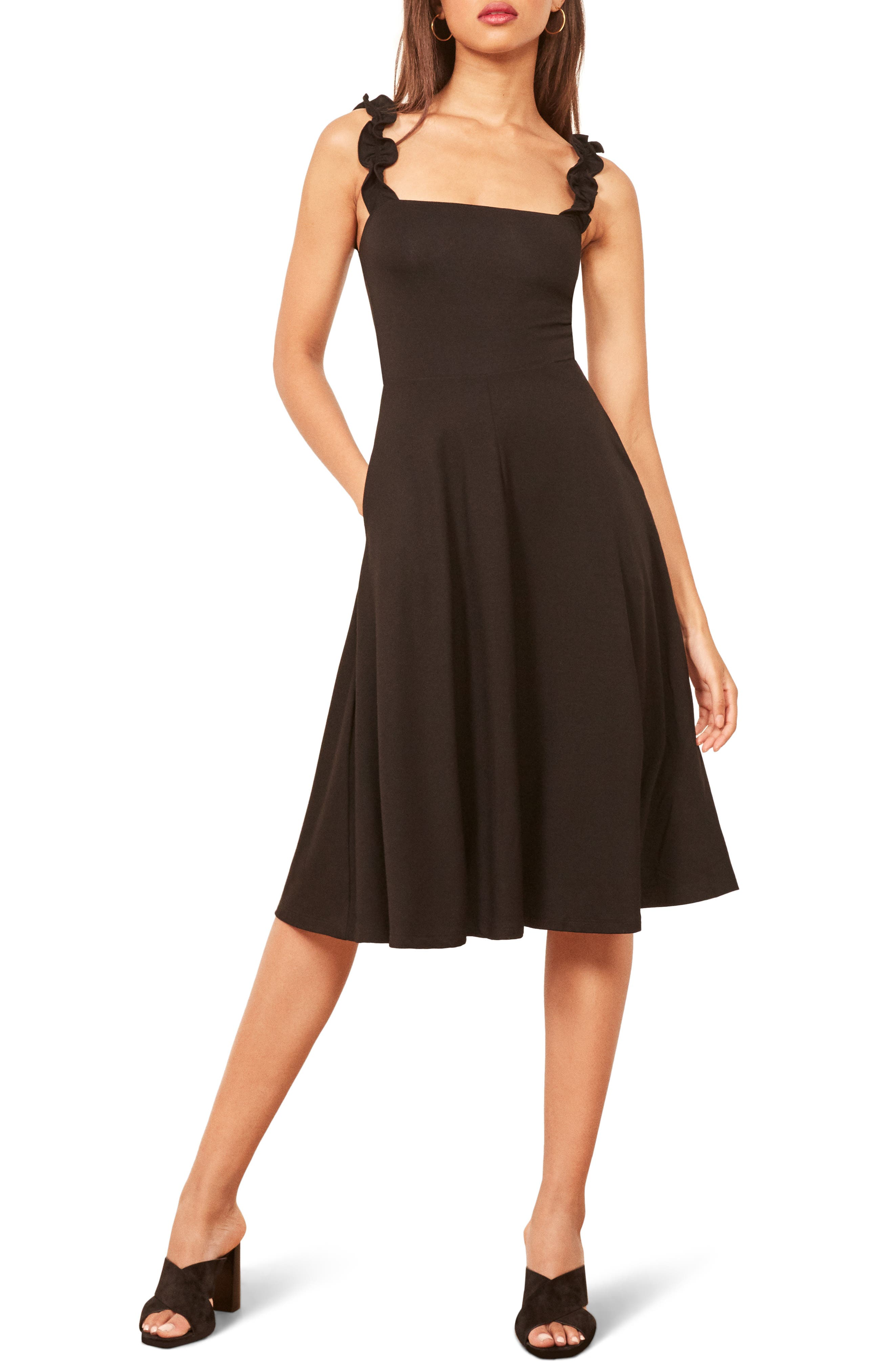 Eda Ruffle Strap Dress,                         Main,                         color, BLACK