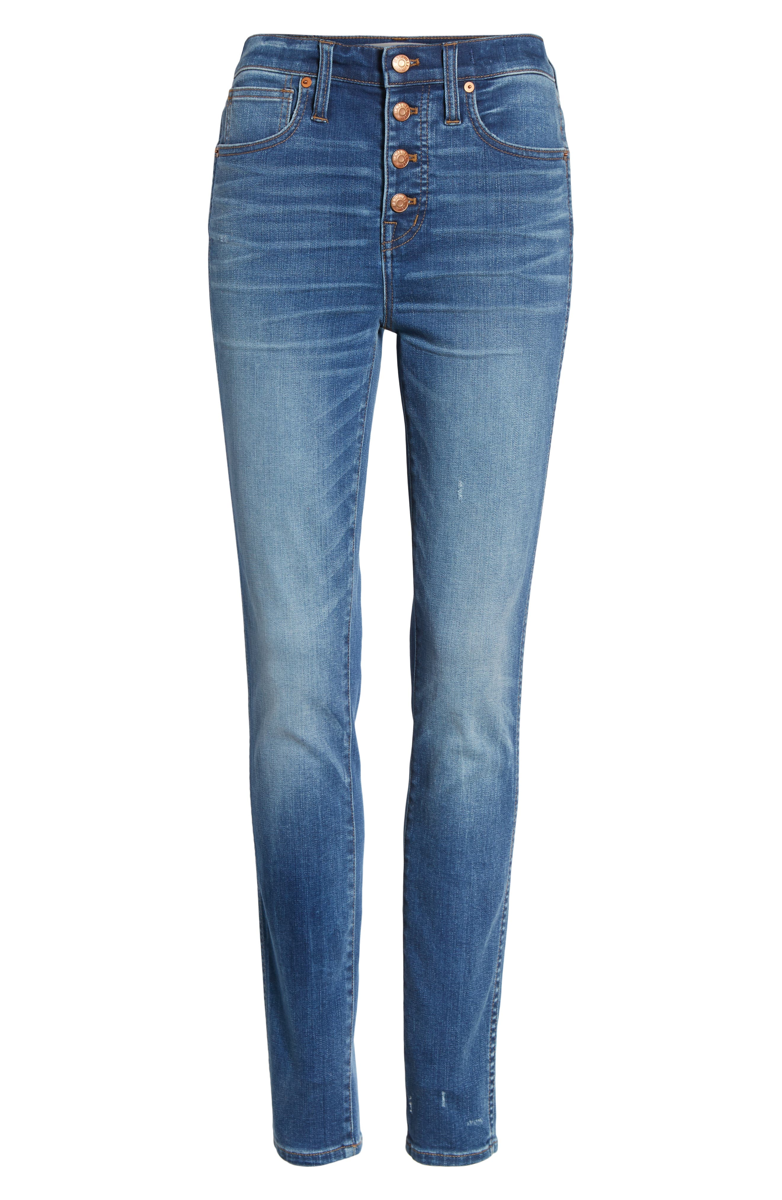 10-Inch High Waist Skinny Jeans,                             Alternate thumbnail 7, color,                             400