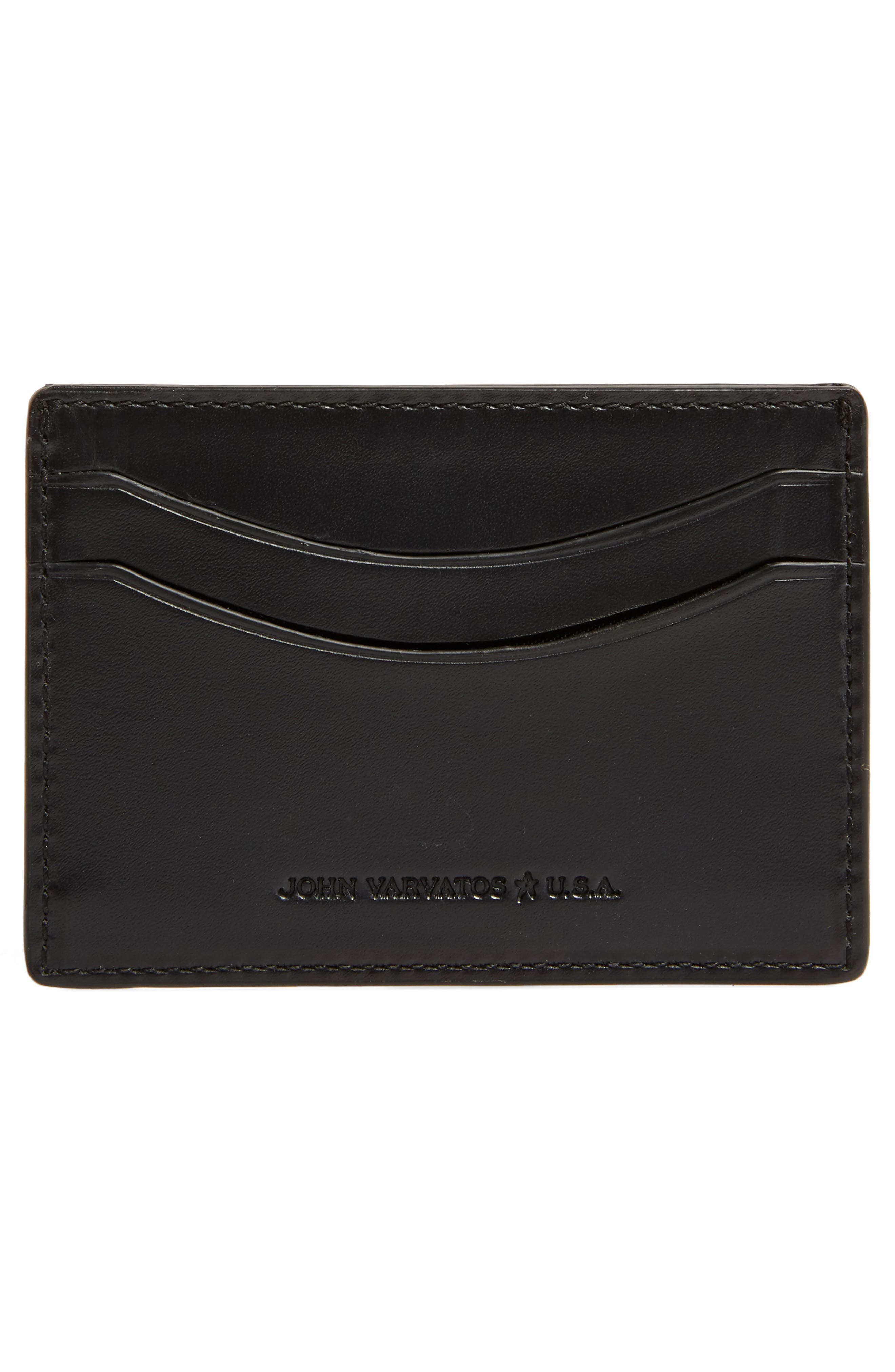 Curved Leather Card Case,                             Alternate thumbnail 2, color,                             BLACK