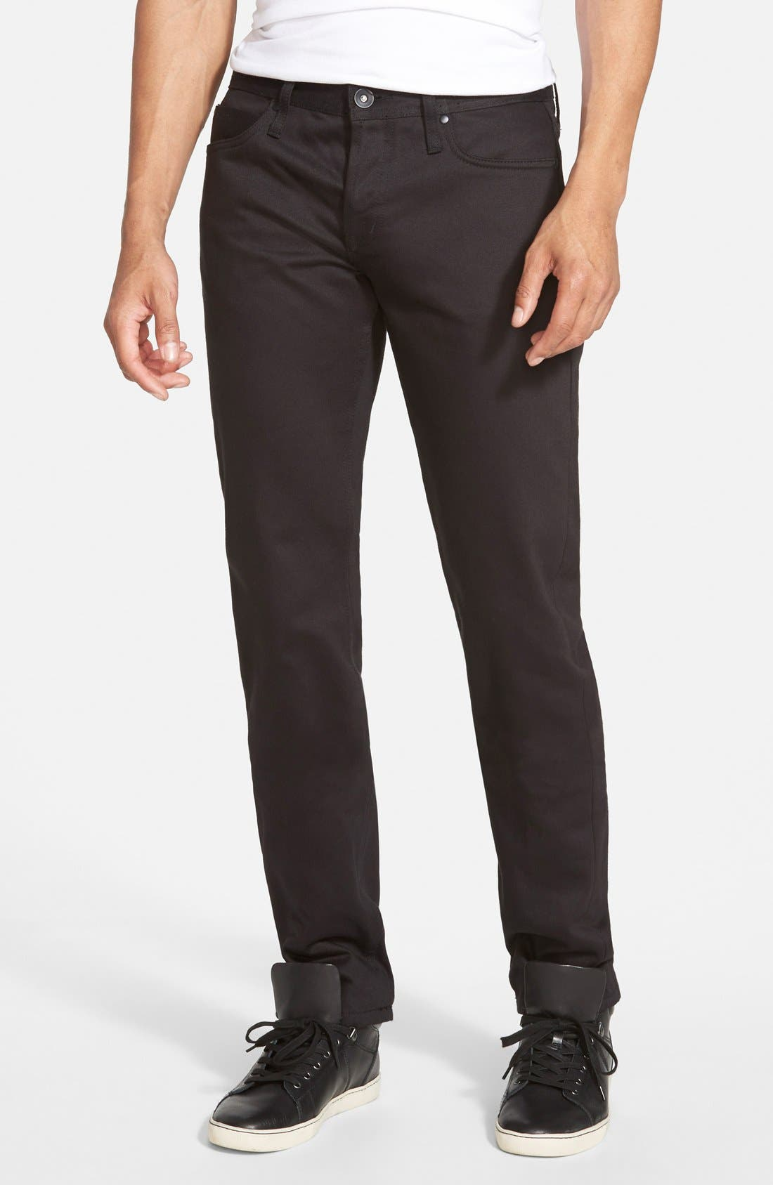 'UB155' Skinny Fit Raw Selvedge Jeans, Main, color, 001