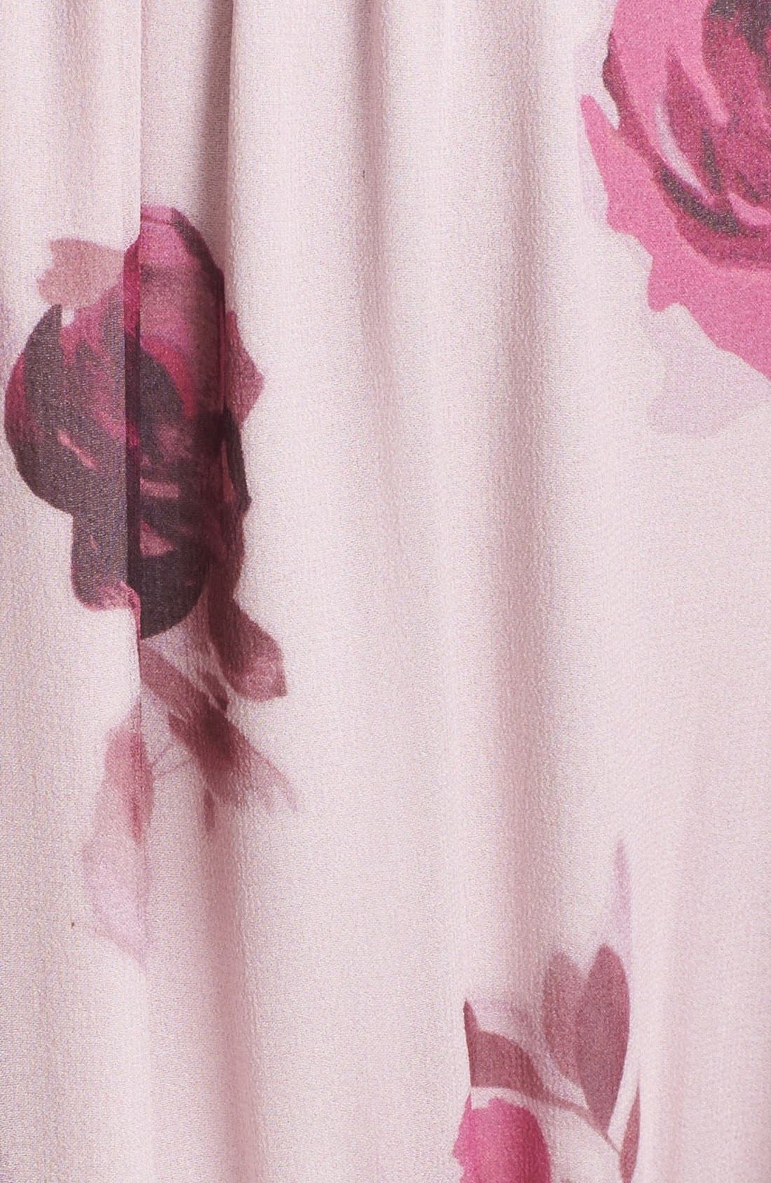 'encore rose' tie neck pleat chiffon dress,                             Alternate thumbnail 4, color,                             651