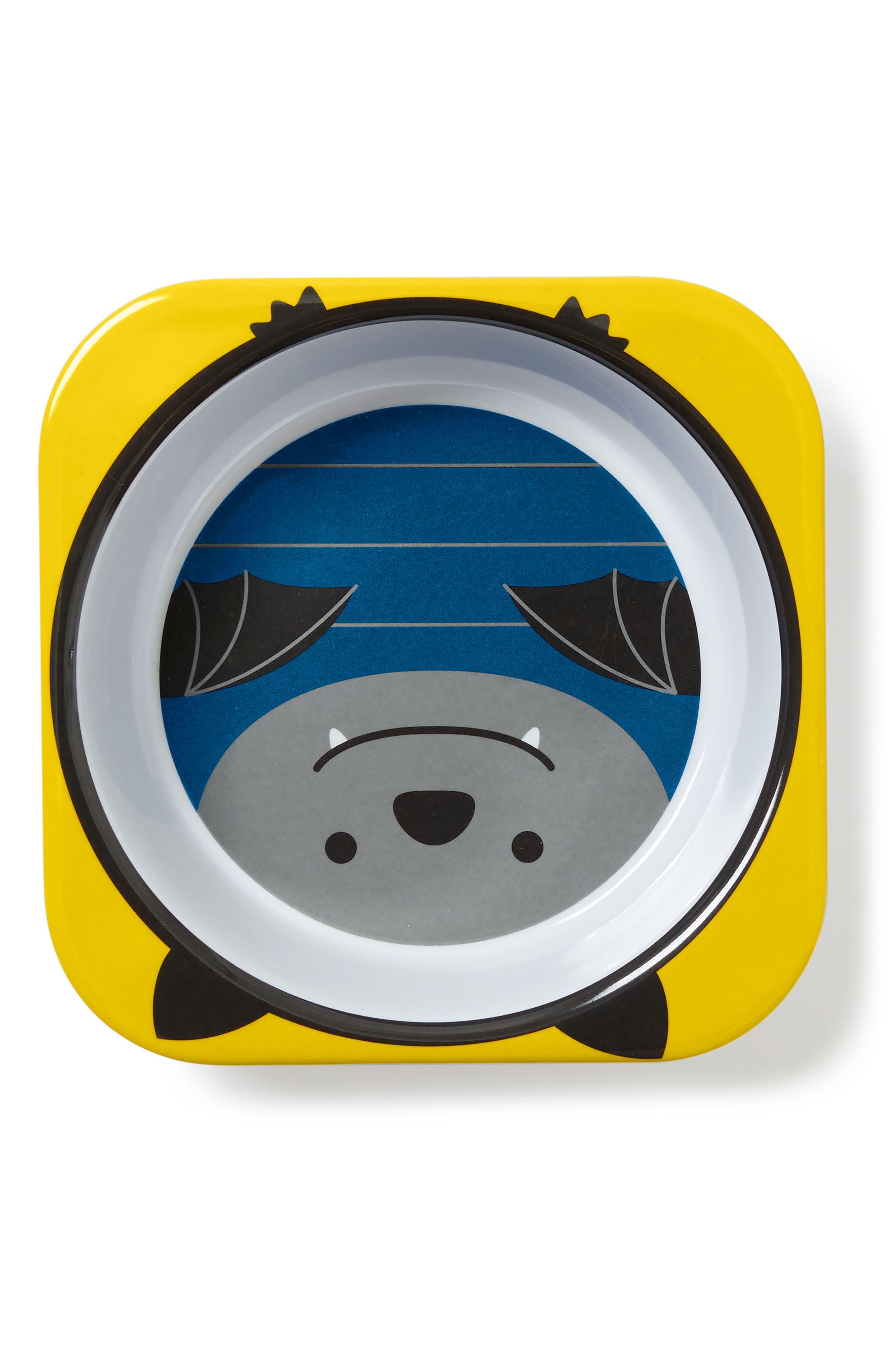 Zoo Bat Melamine Plate & Bowl Set,                             Alternate thumbnail 3, color,                             NAVY BLUE
