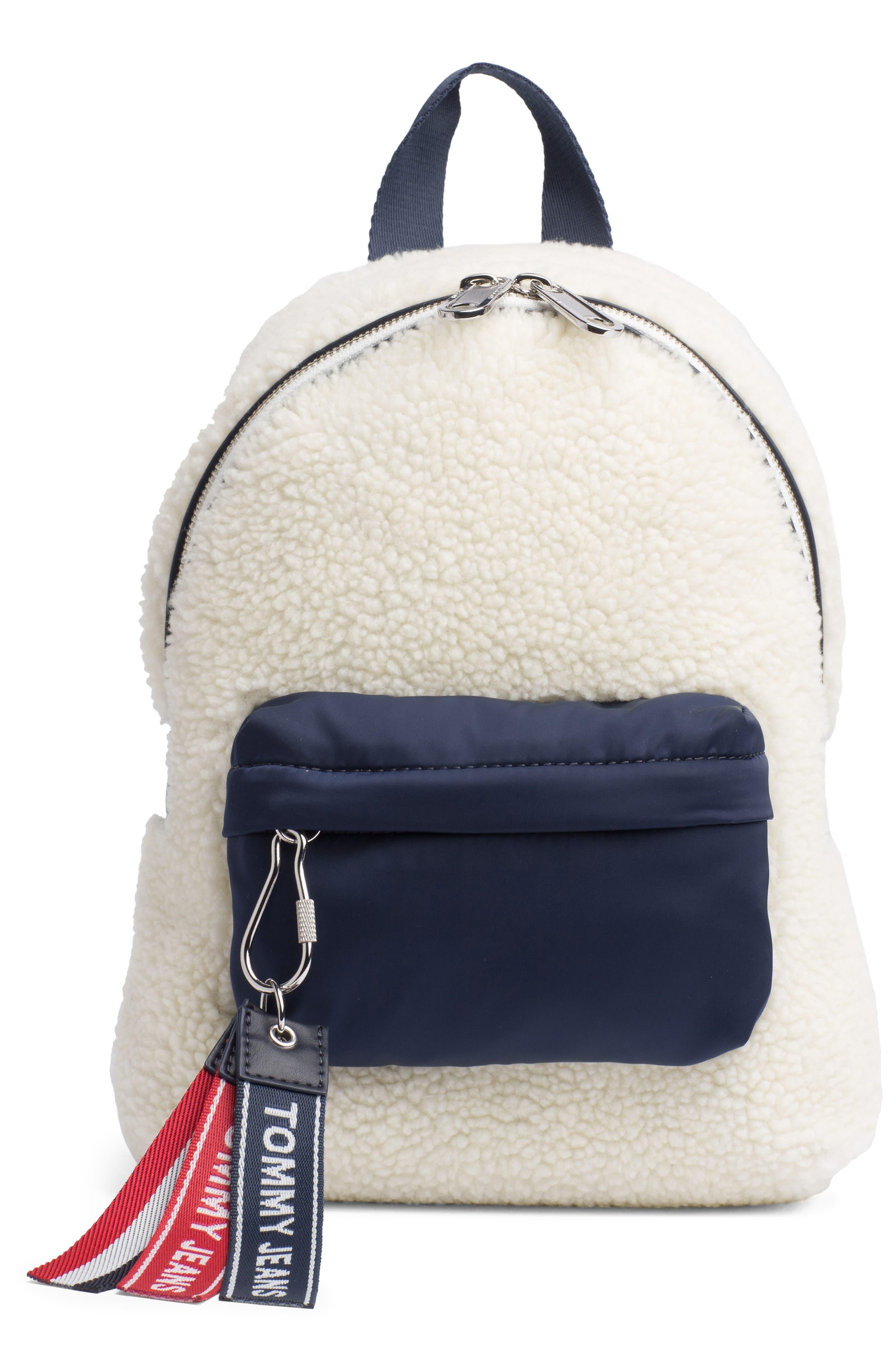 Logo Strap Fleece Mini Backpack,                             Main thumbnail 1, color,                             PUMICE STONE