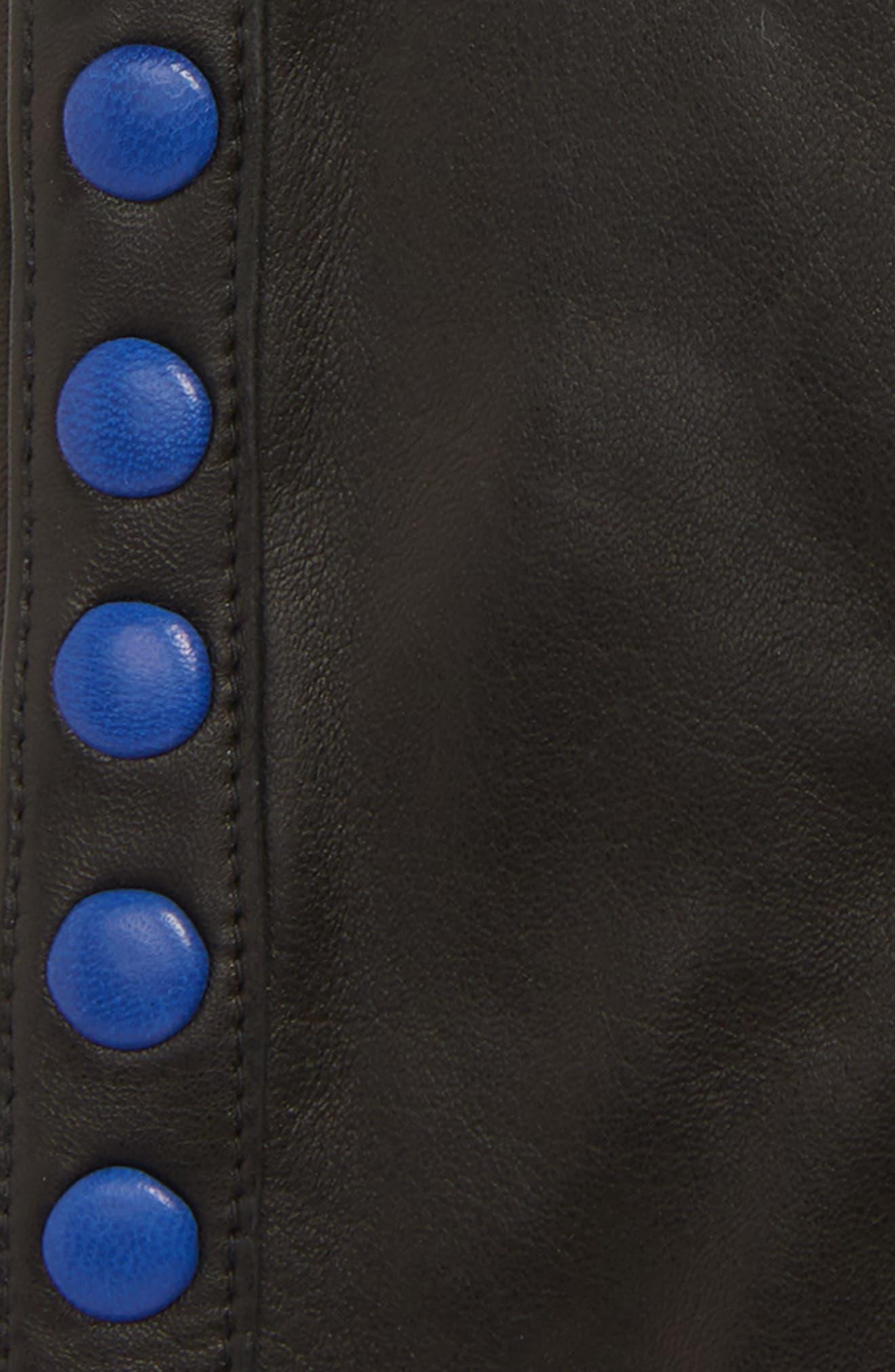 Color Pop Button Lambskin Leather Gloves,                             Alternate thumbnail 3, color,                             001
