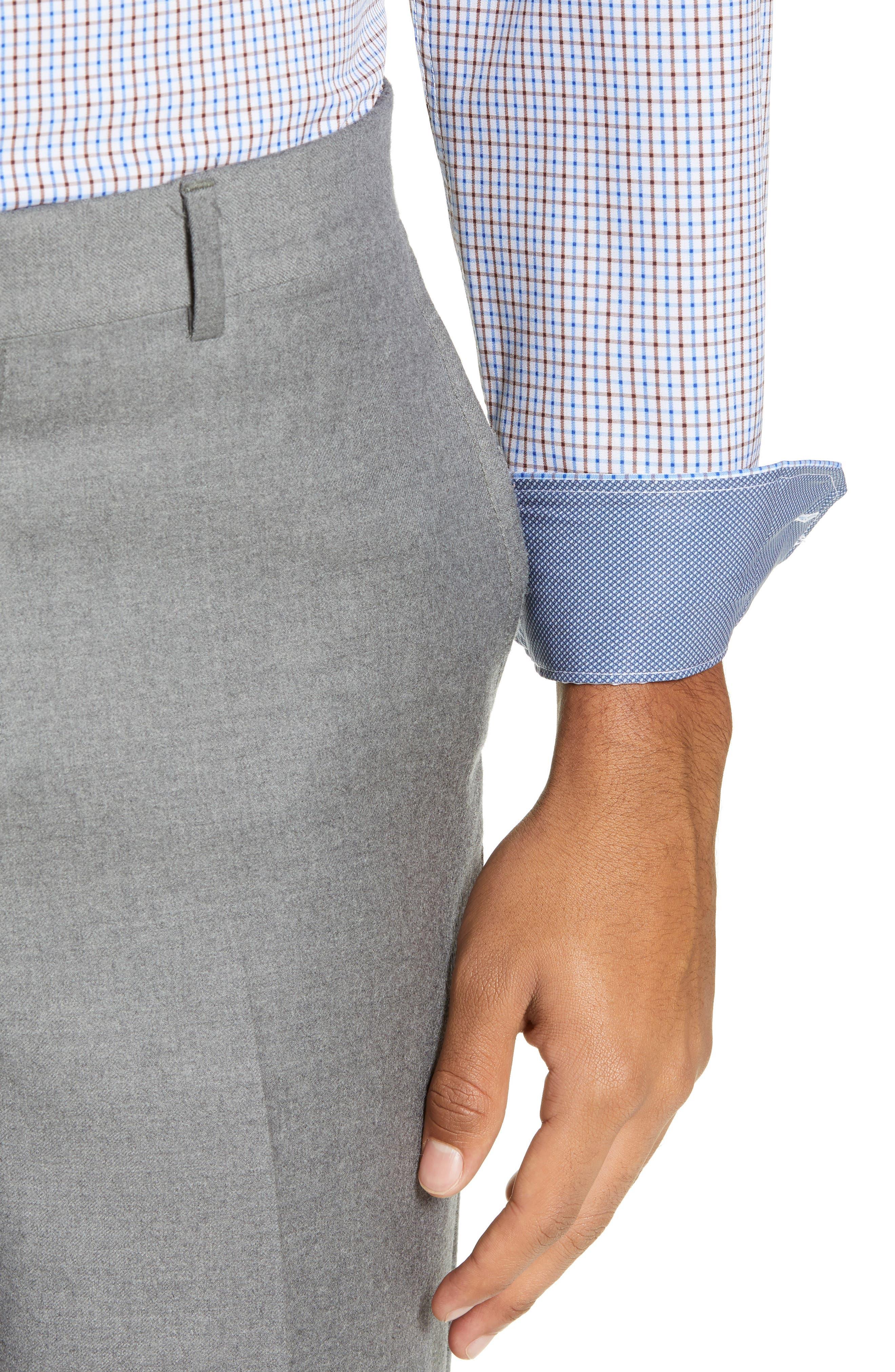 Trim Fit 4-Way Stretch Check Dress Shirt,                             Alternate thumbnail 2, color,                             BLUE