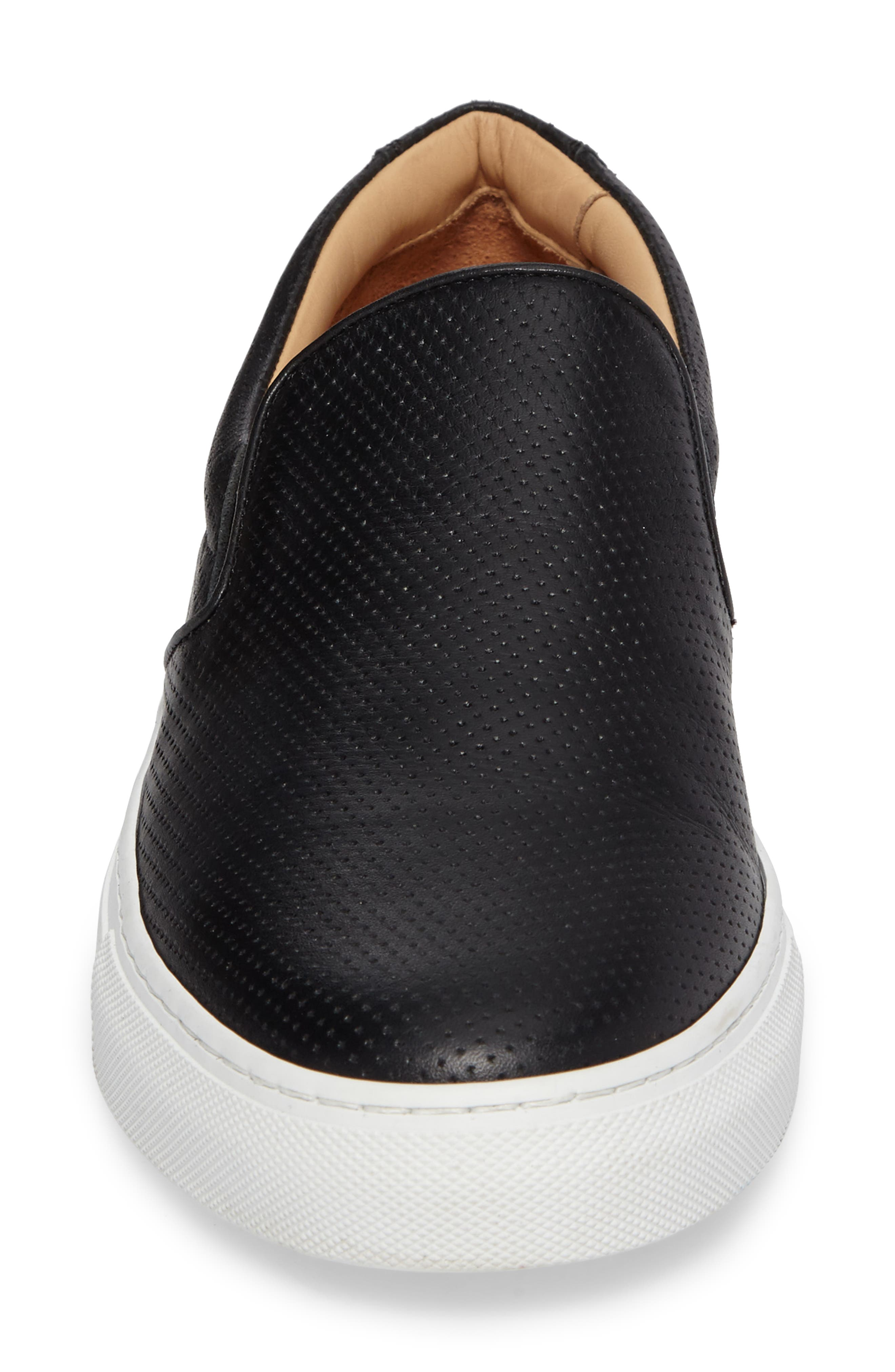 Wooster Slip-On Sneaker,                             Alternate thumbnail 4, color,                             BLACK PERFORATED LEATHER
