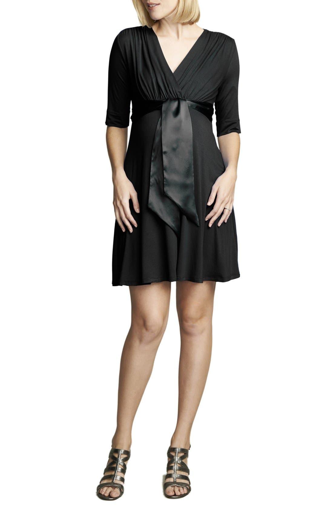 Tie Front Maternity Dress,                             Main thumbnail 1, color,                             BLACK