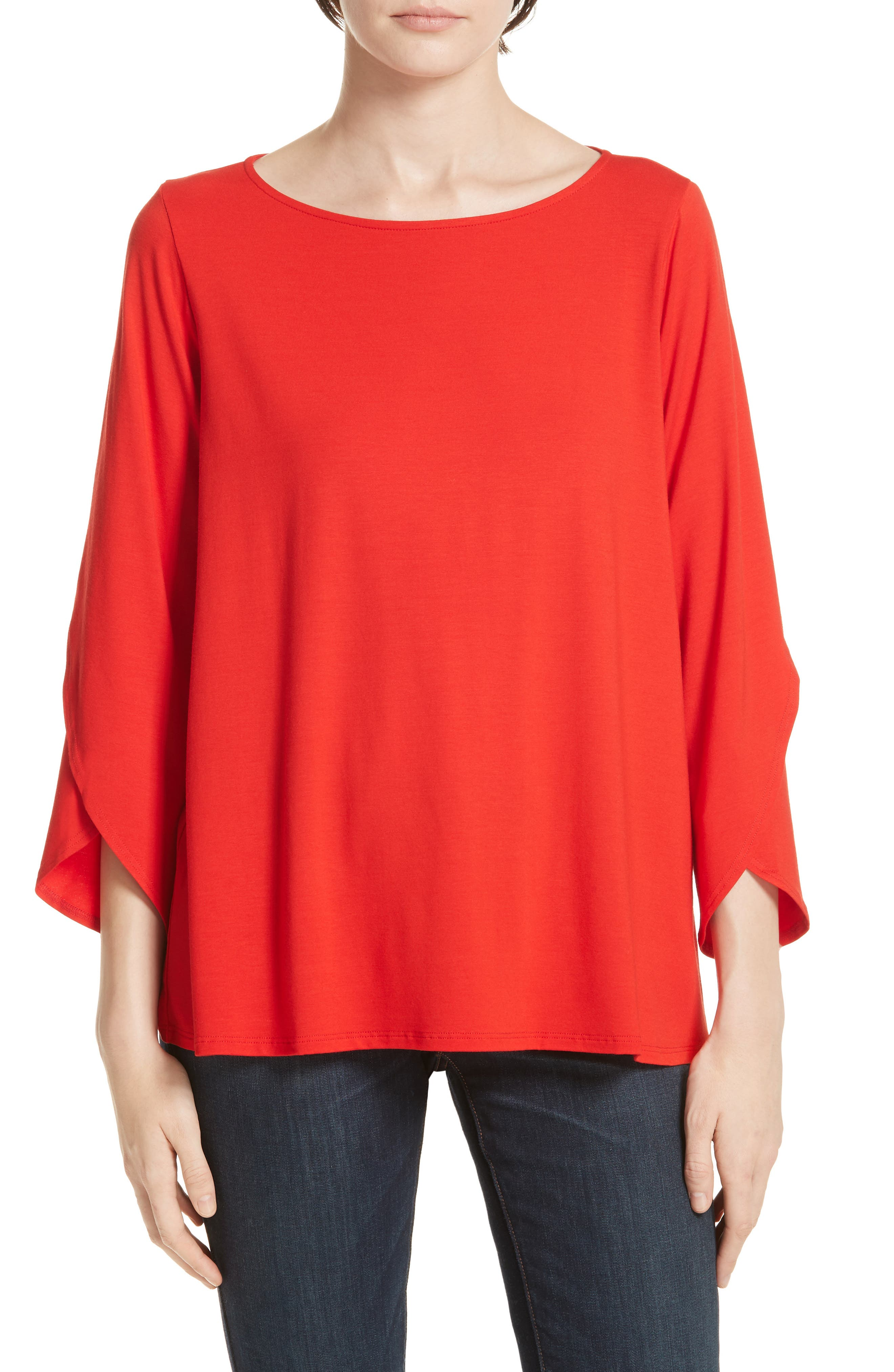 Eileen Fisher Asymmetrical Sleeve Top, Red