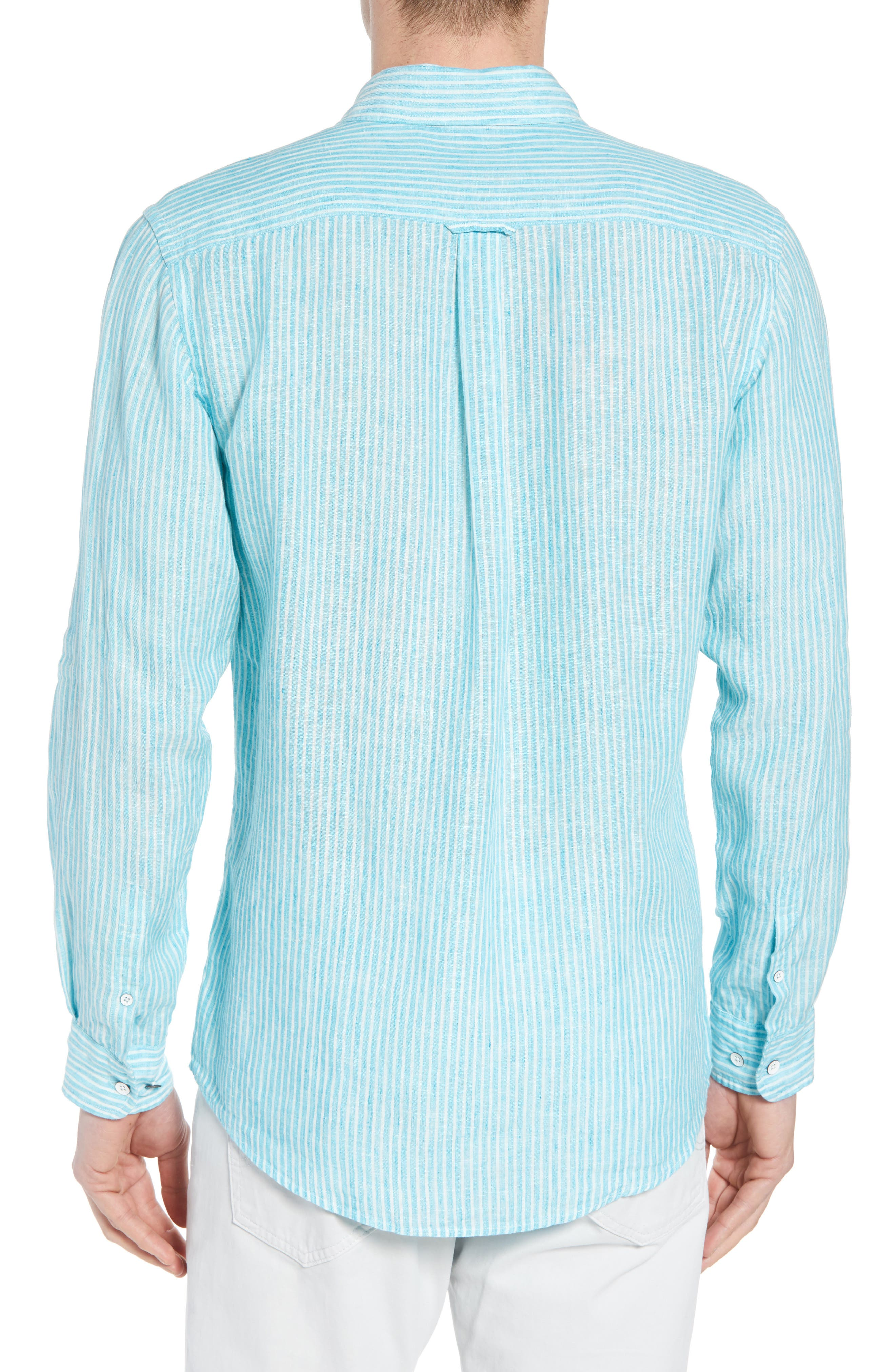 Warwick Junction Stripe Linen Sport Shirt,                             Alternate thumbnail 2, color,                             TEAL