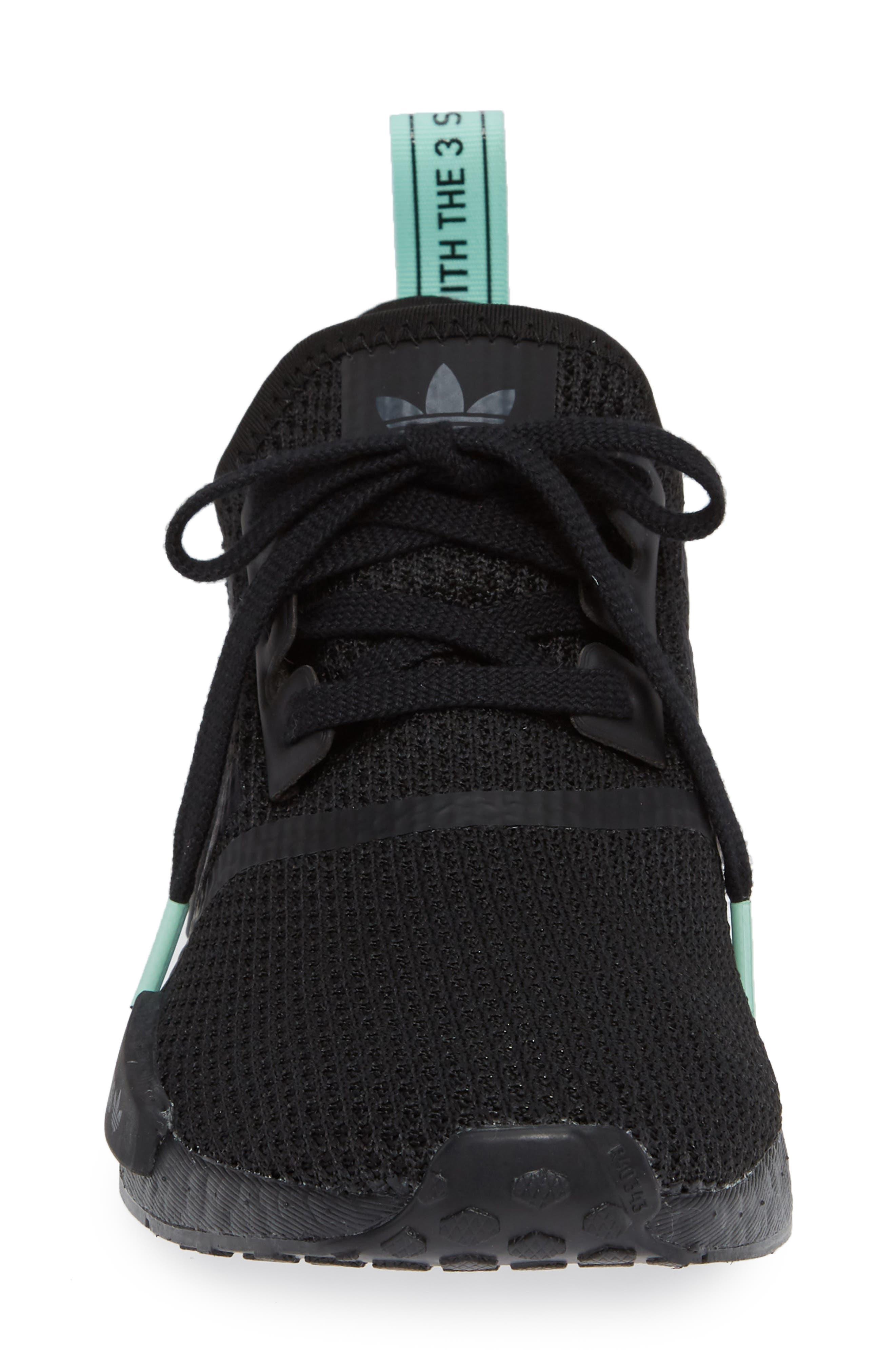 NMD R1 Athletic Shoe,                             Alternate thumbnail 4, color,                             BLACK/ BLACK/ CLEAR MINT