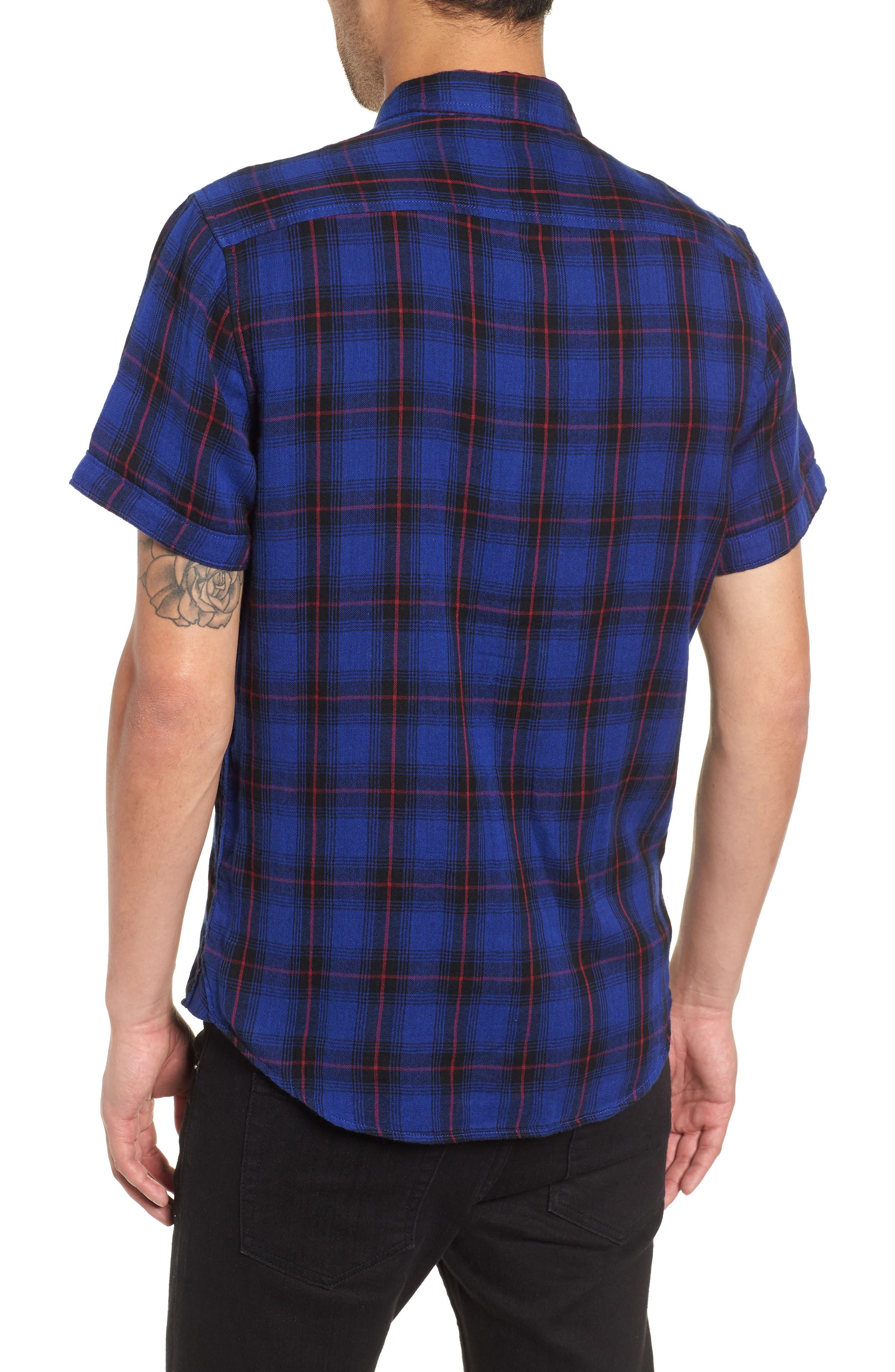 Plaid Woven Shirt,                             Alternate thumbnail 2, color,                             BLUE BLACK LUCA PLAID