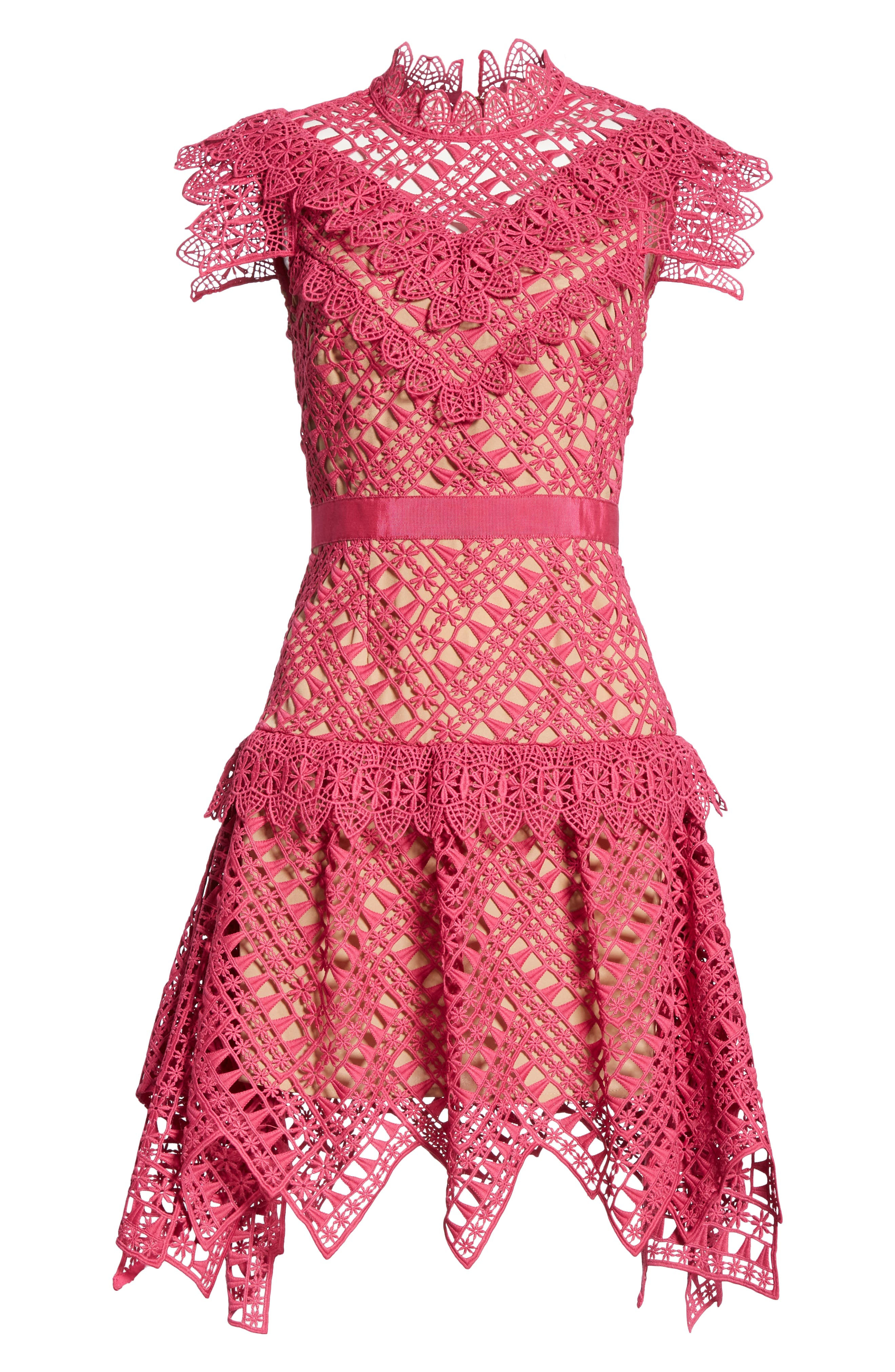 Lace Handkerchief Hem Minidress,                             Alternate thumbnail 7, color,                             FUSCHIA