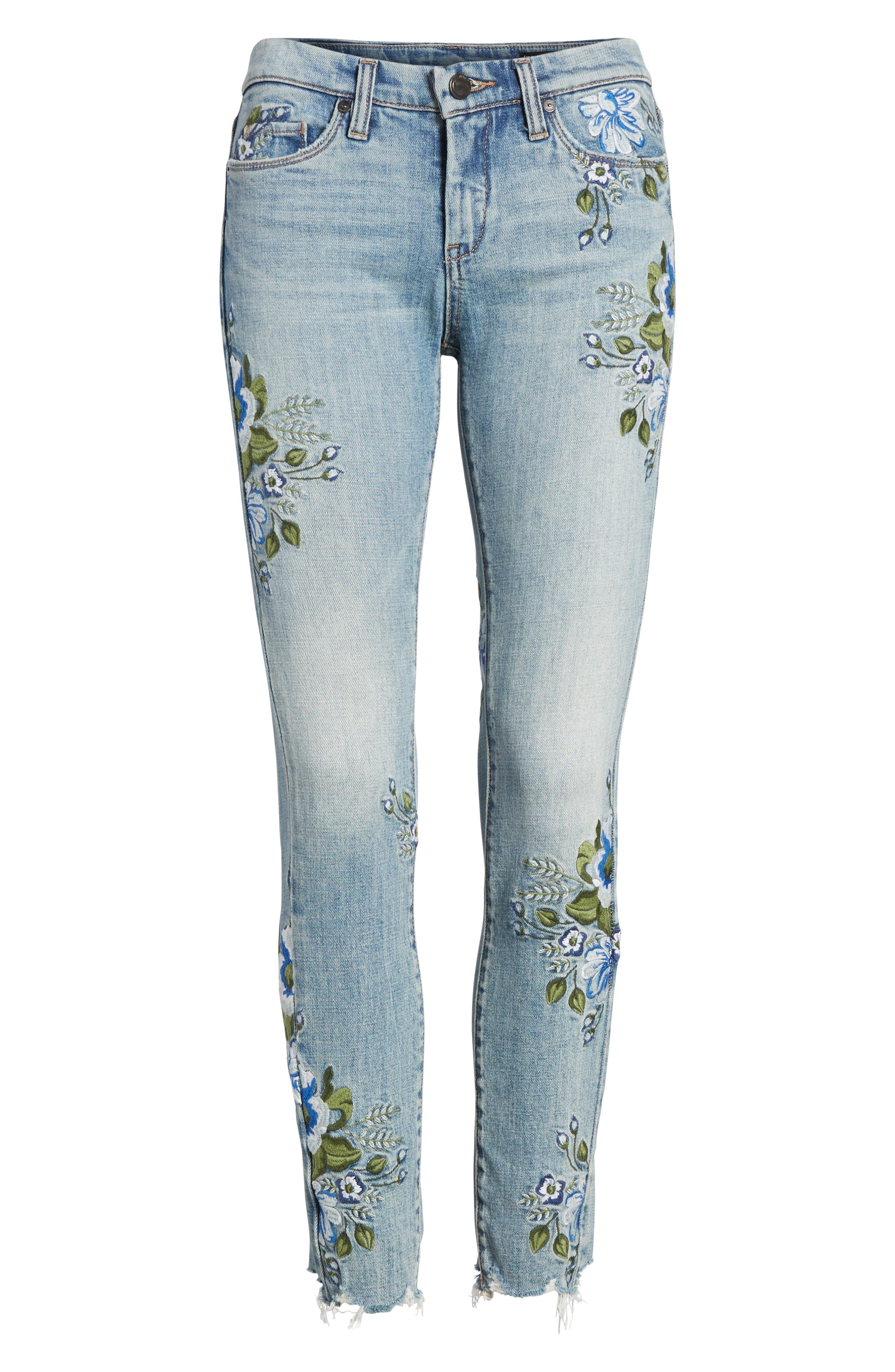 Floral Embroidered Skinny Jeans,                             Alternate thumbnail 6, color,                             400