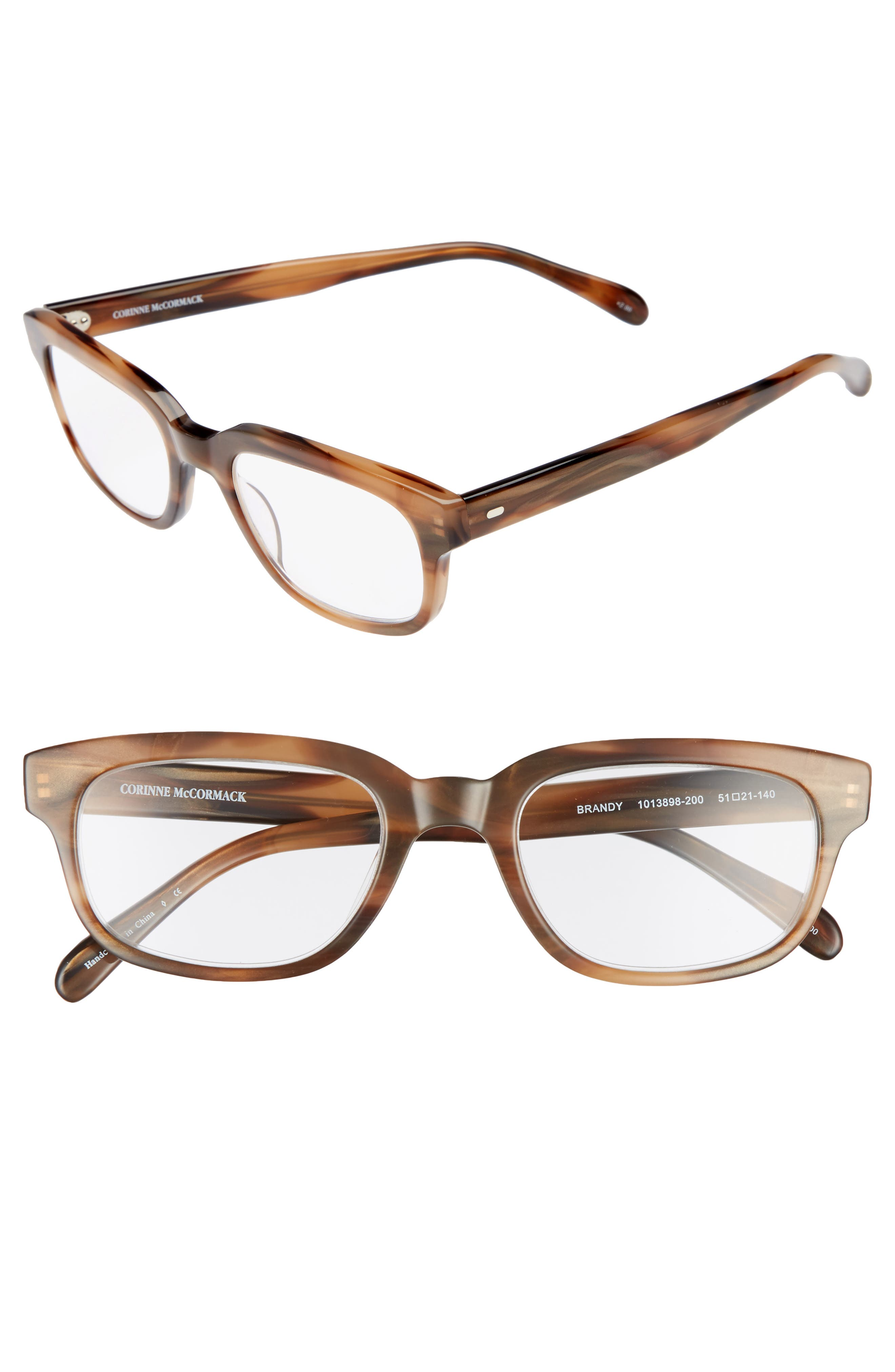 Corrine McCormack Brandy 51mm Reading Glasses,                         Main,                         color, 200