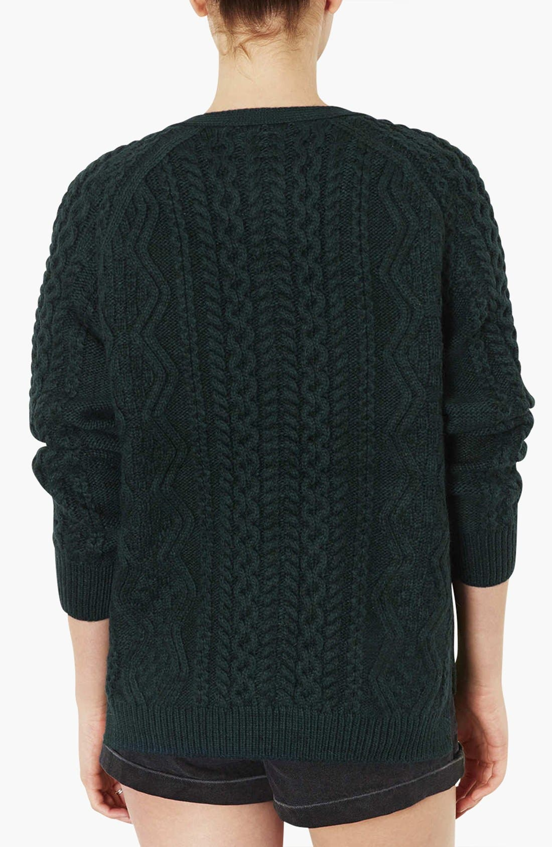 TOPSHOP,                             Cable Knit V-Neck Cardigan,                             Alternate thumbnail 3, color,                             300