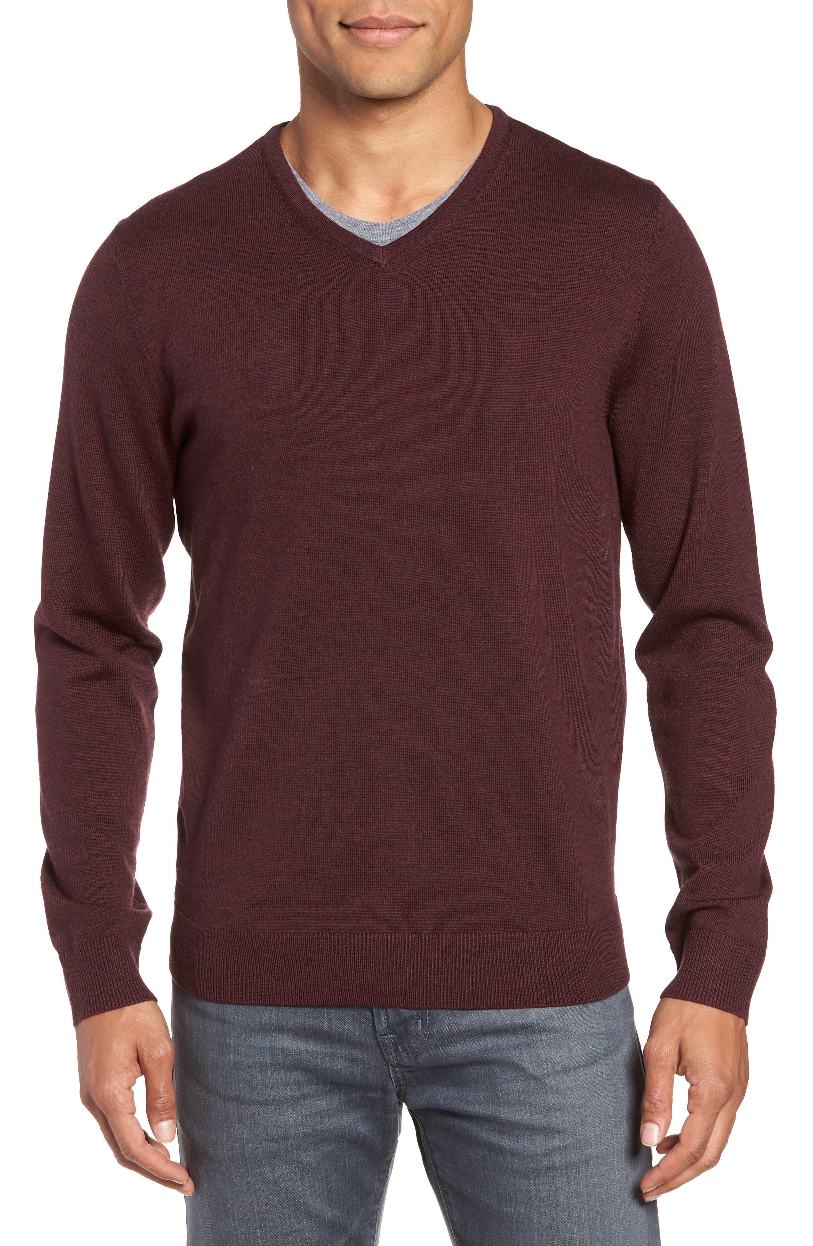 Nordstrom Shop Washable Merino Wool V-Neck Sweater, Burgundy