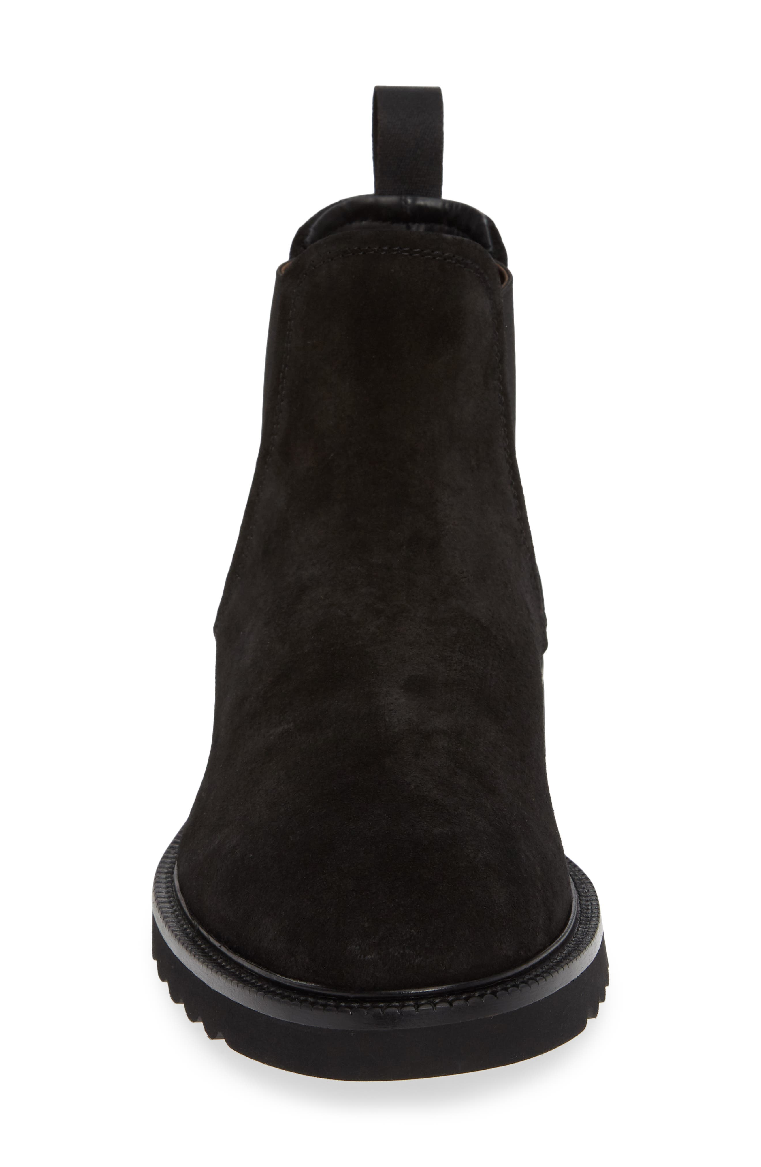 Lugged Chelsea Boot,                             Alternate thumbnail 4, color,                             BLACK LEATHER