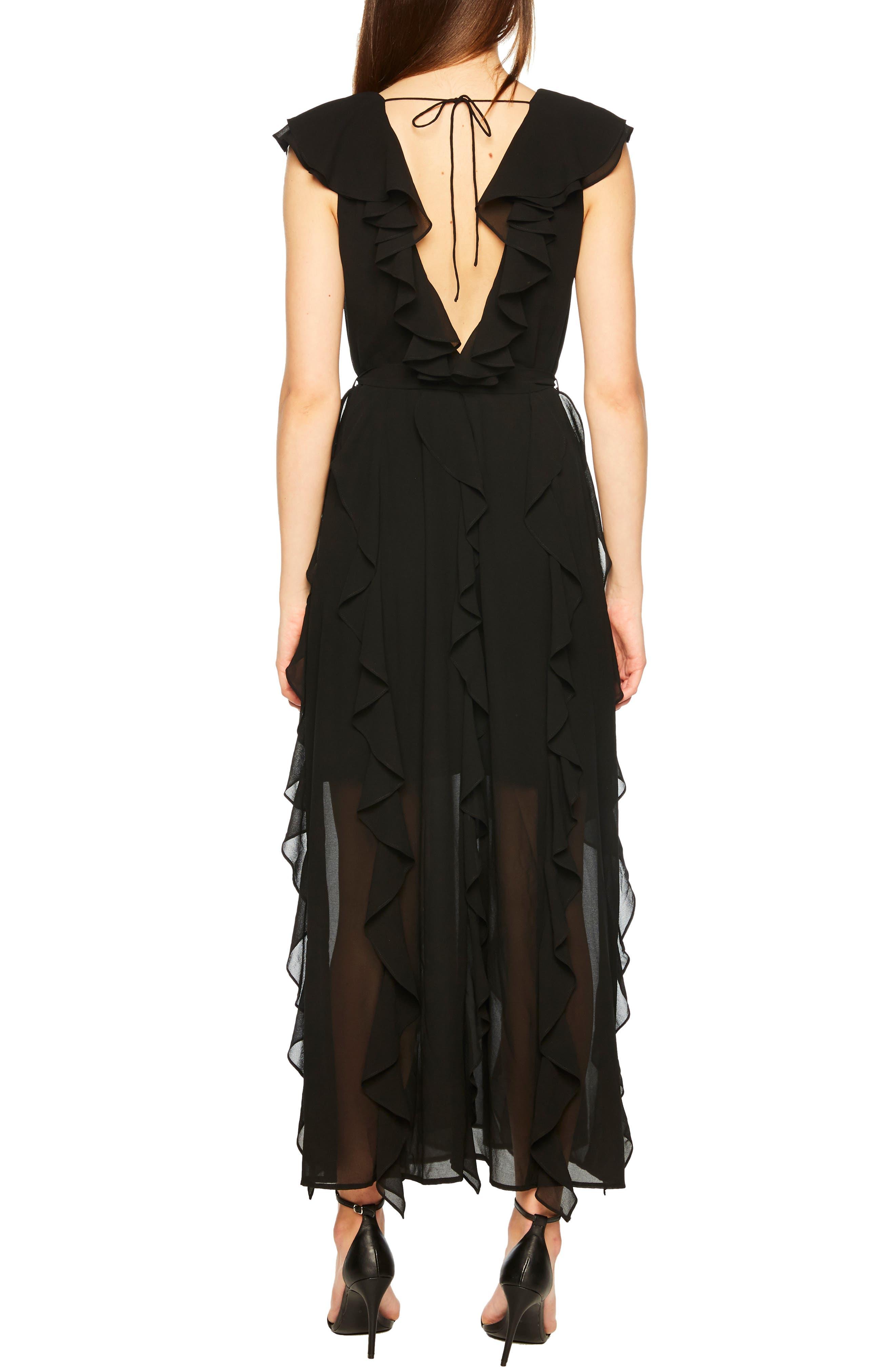 Emily Frill Maxi Dress,                             Alternate thumbnail 2, color,                             BLACK