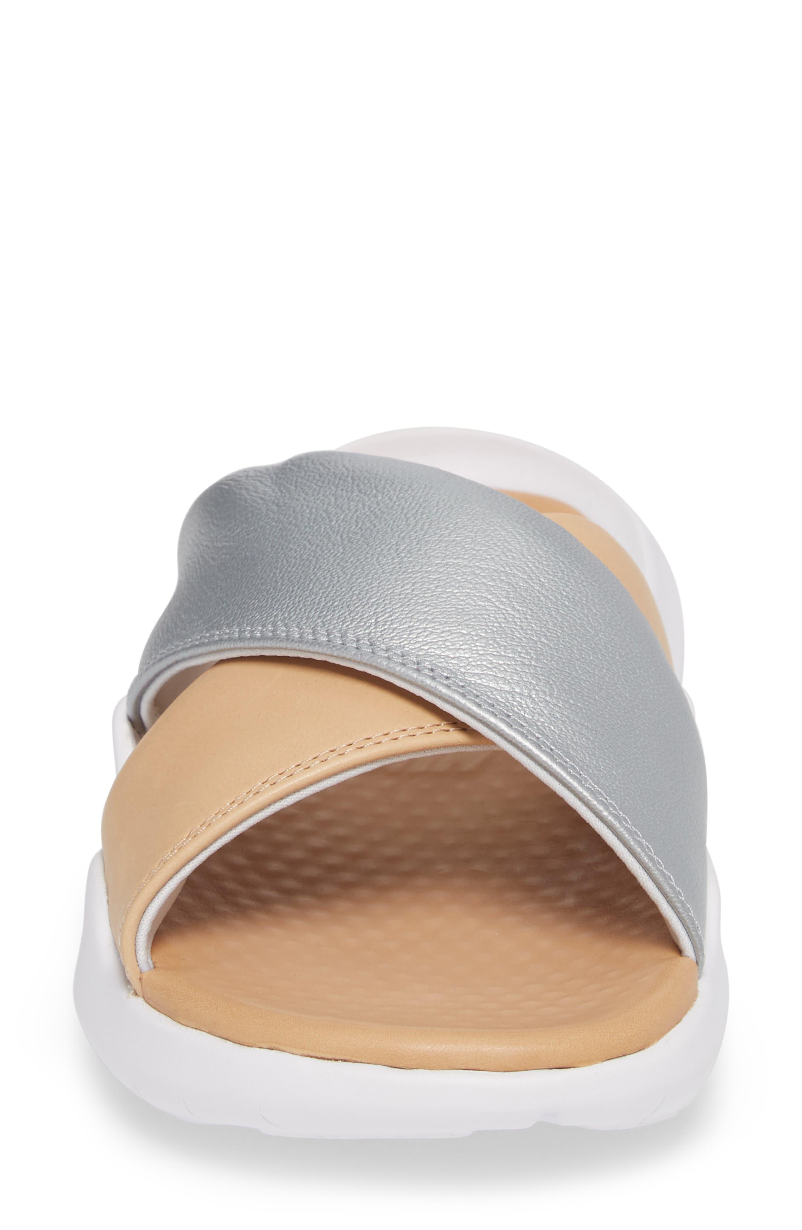 Nordstrom x Nike Benassi Future Cross SE Premium Slide,                             Alternate thumbnail 4, color,                             METALLIC SILVER/ BIO BEIGE