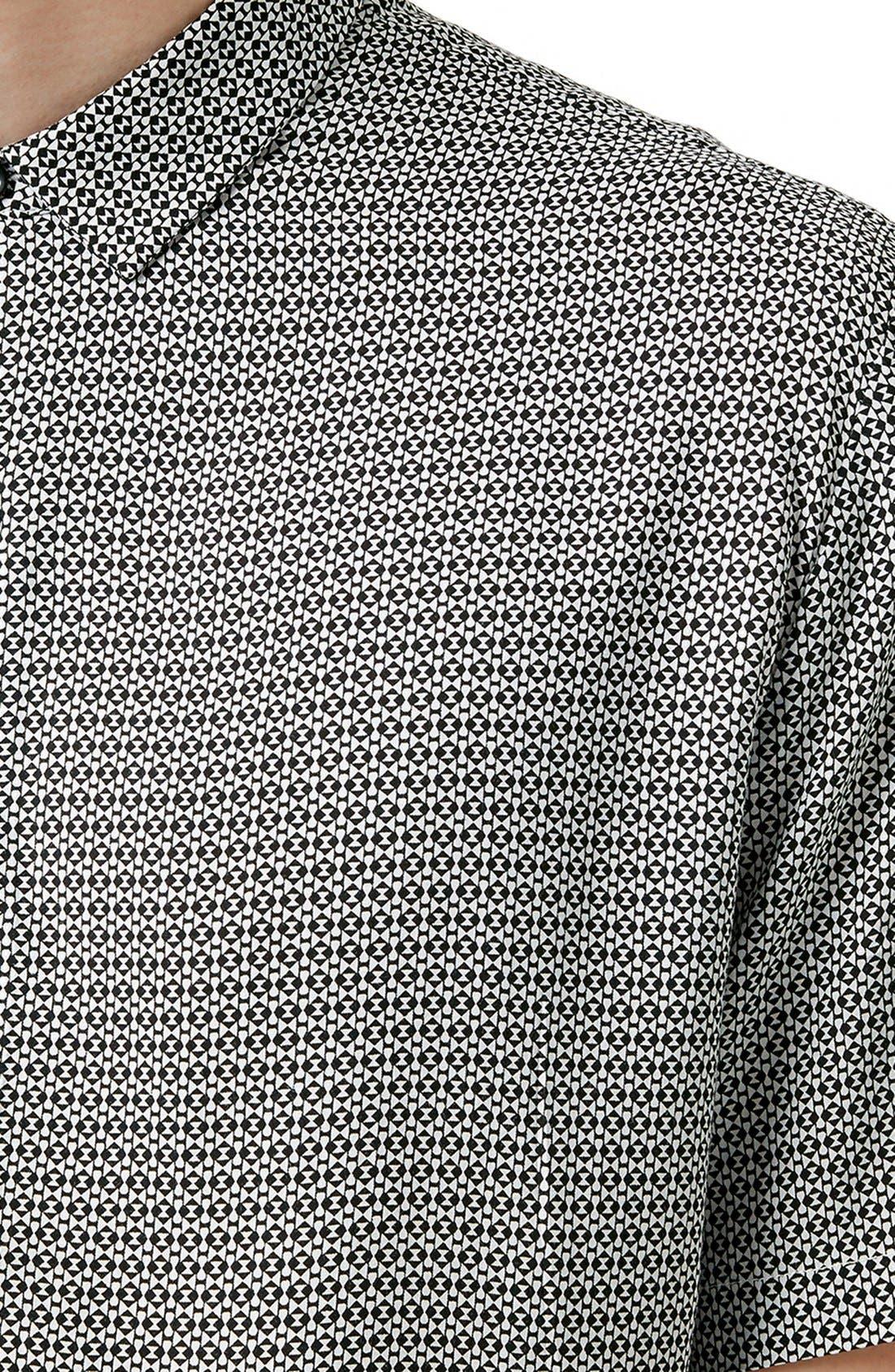 Slim Fit Short Sleeve Geo Print Shirt,                             Alternate thumbnail 4, color,                             001