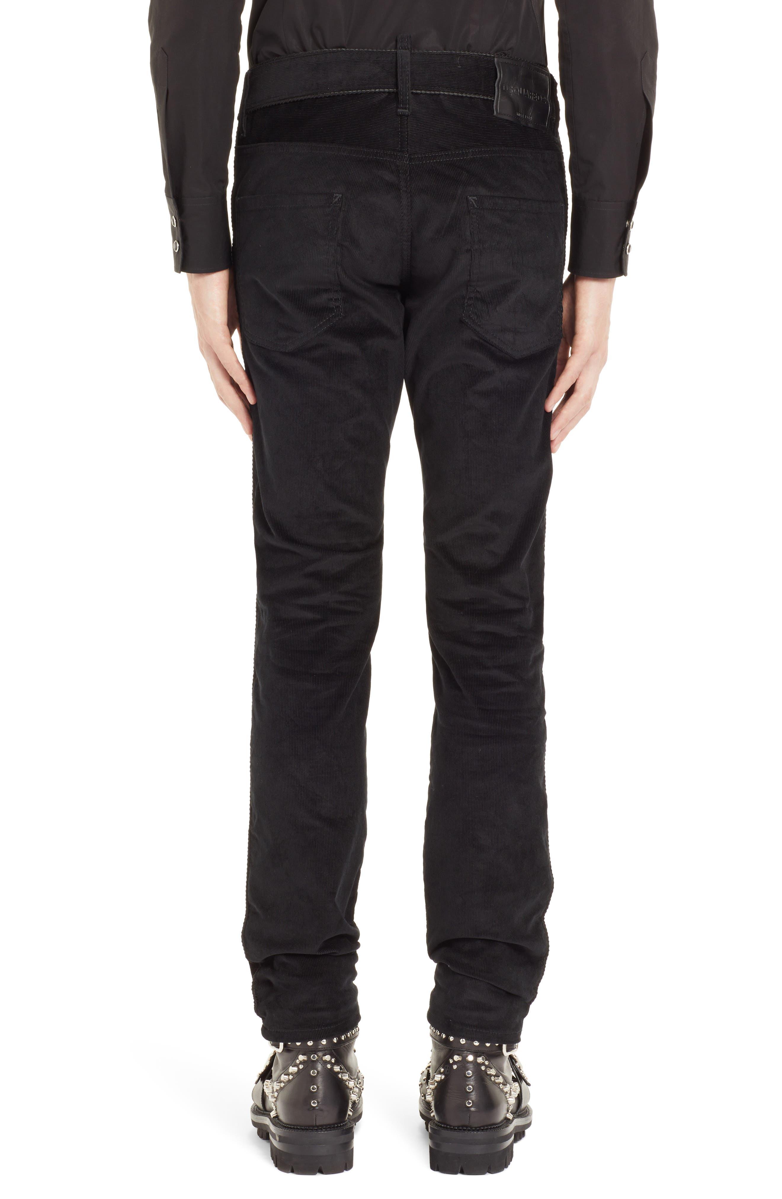 Skinny Straight Leg Corduroy Pants,                             Alternate thumbnail 2, color,                             BLACK