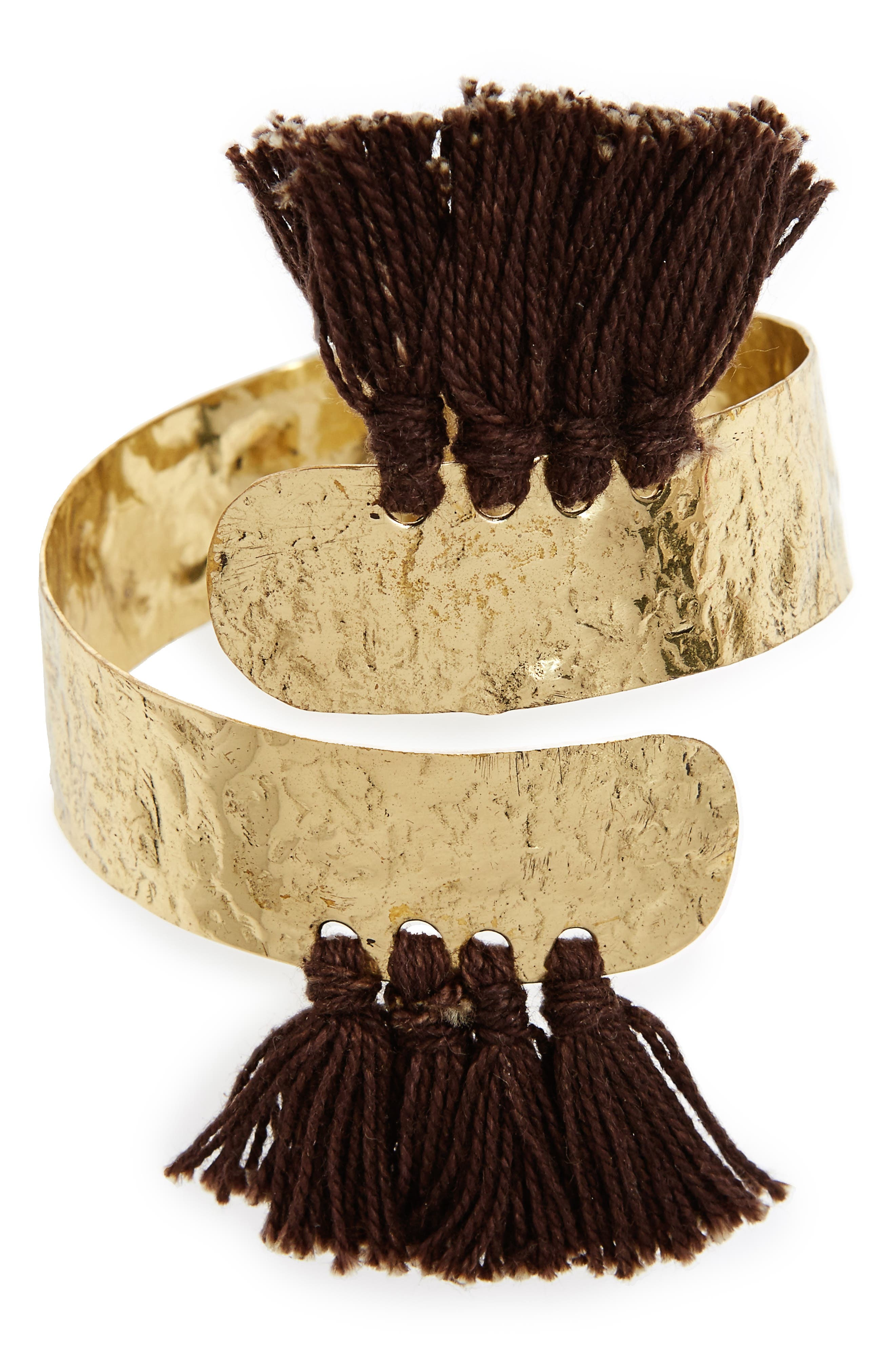 Aiu Hammered Tassel Cuff Bracelet,                             Main thumbnail 1, color,