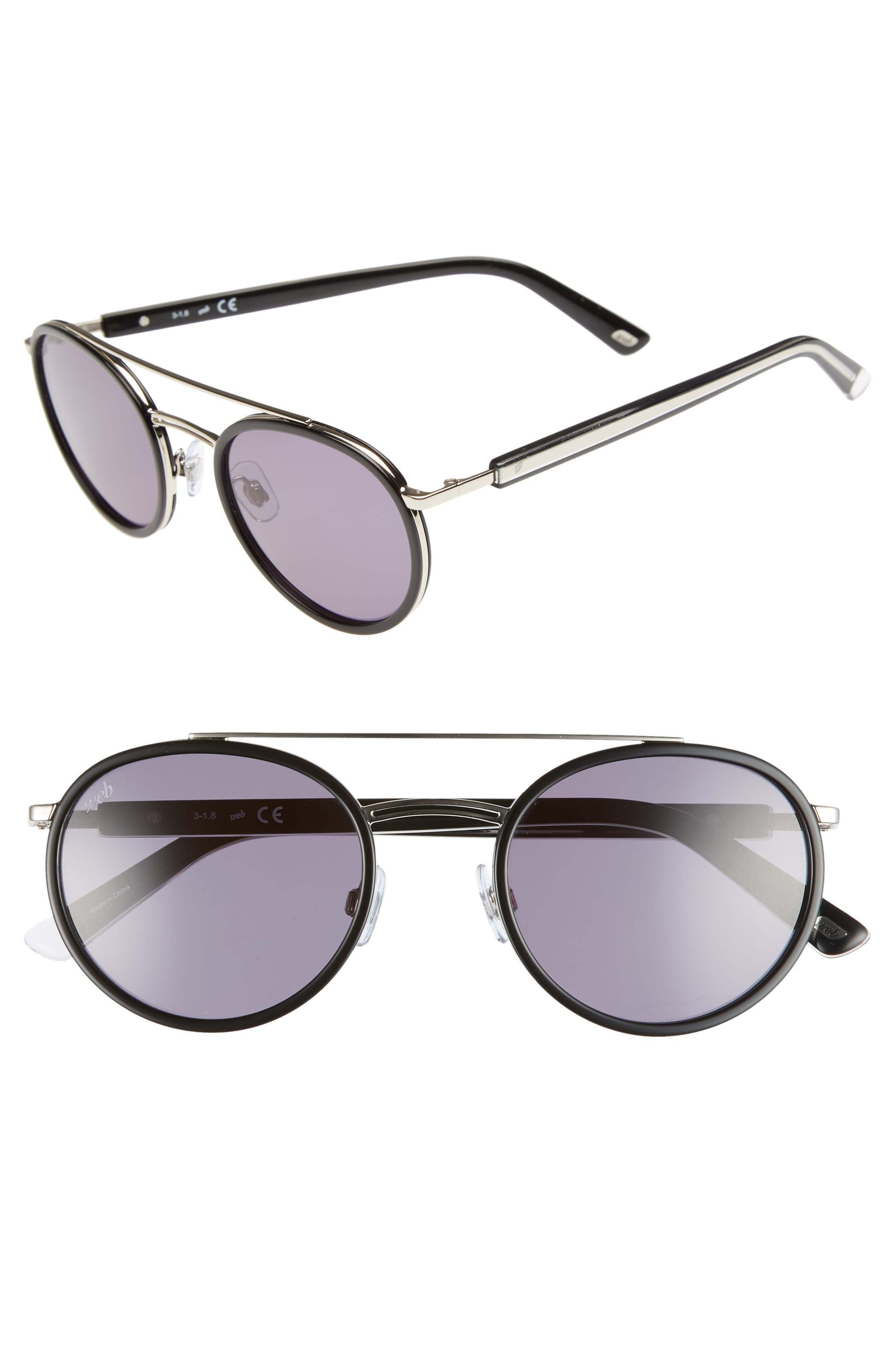 52mm Aviator Sunglasses,                         Main,                         color, SHINY BLACK/ SMOKE