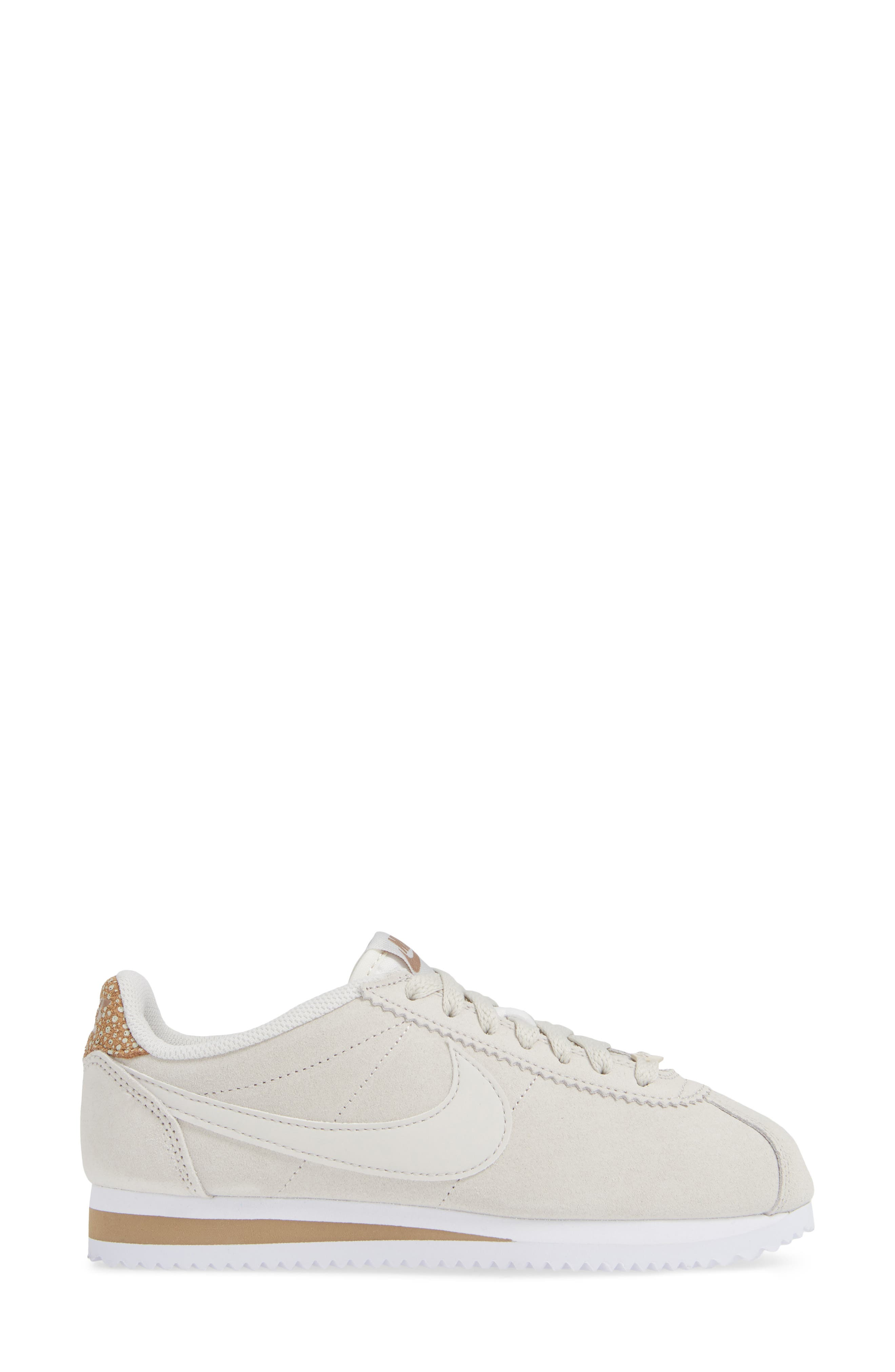 Classic Cortez Premium Sneaker,                             Alternate thumbnail 3, color,                             LIGHT BONE/ CANTEEN