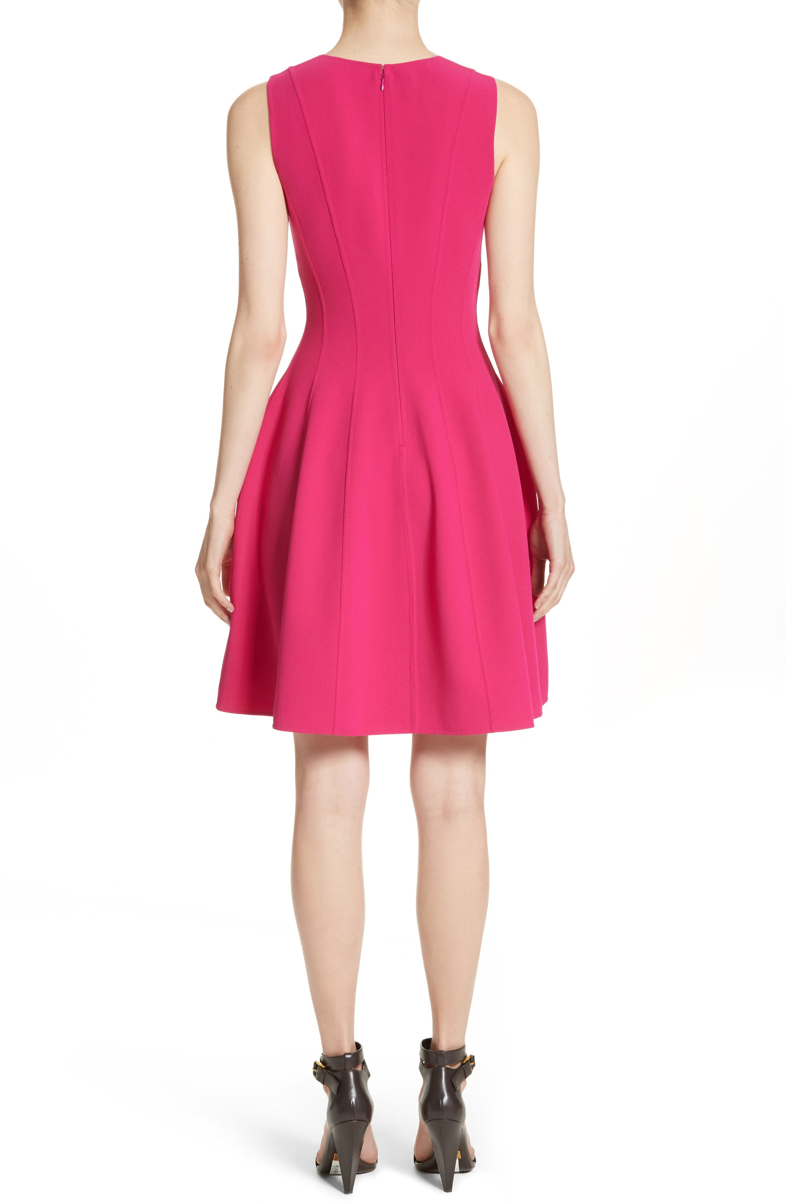 Stretch Wool Bell Dress,                             Alternate thumbnail 2, color,                             657
