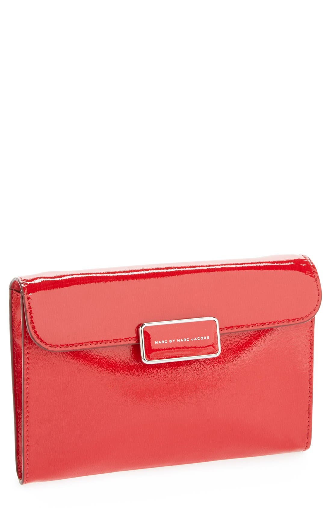 MARC BY MARC JACOBS 'Pegg' Patent Leather Clutch,                             Main thumbnail 1, color,                             600